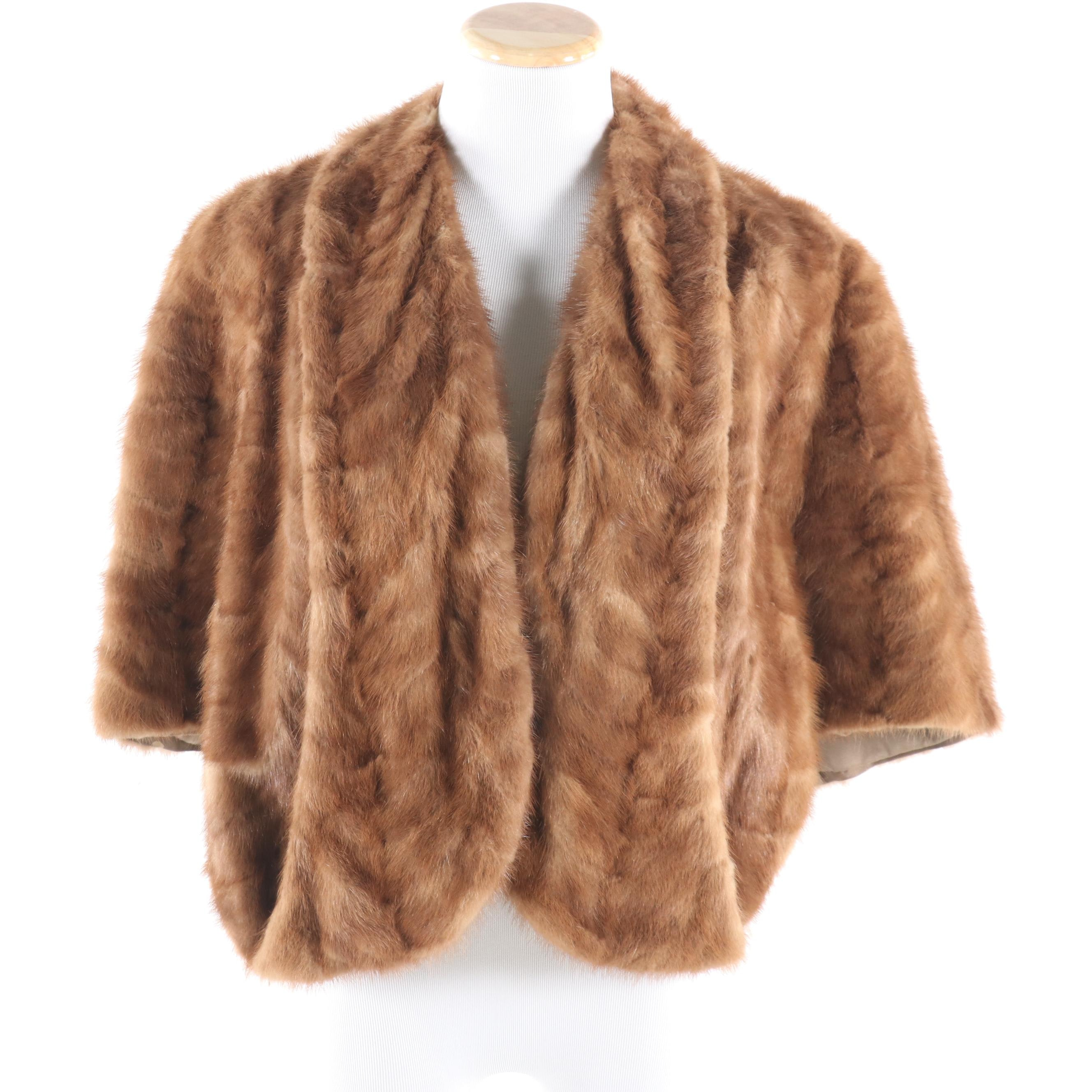 Natural Mink Paw Fur Capelet by Fulginiti's Brockton, Mid-20th Century
