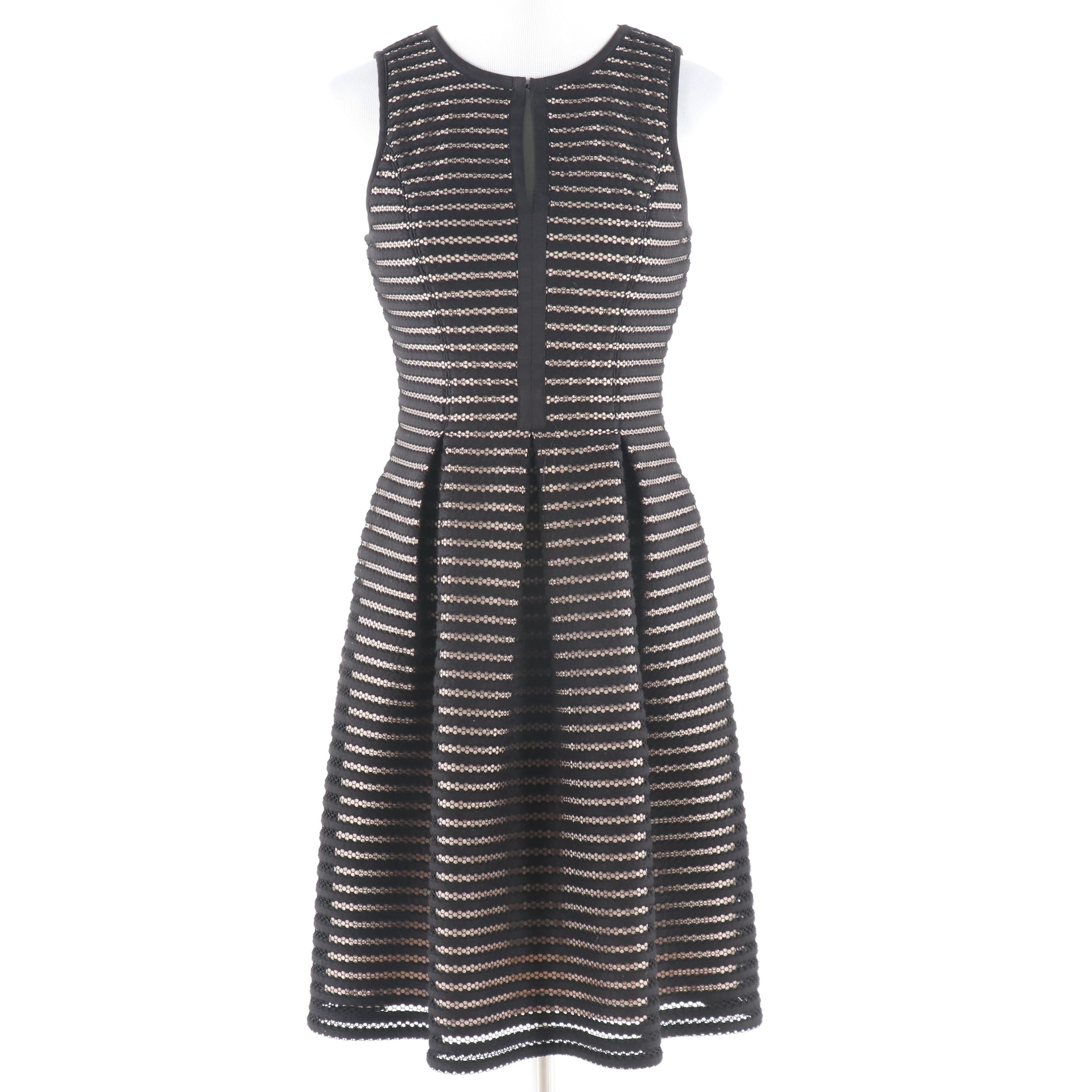 Vince Camuto Shadow Stripe Fit and Flare Sleeveless Dress