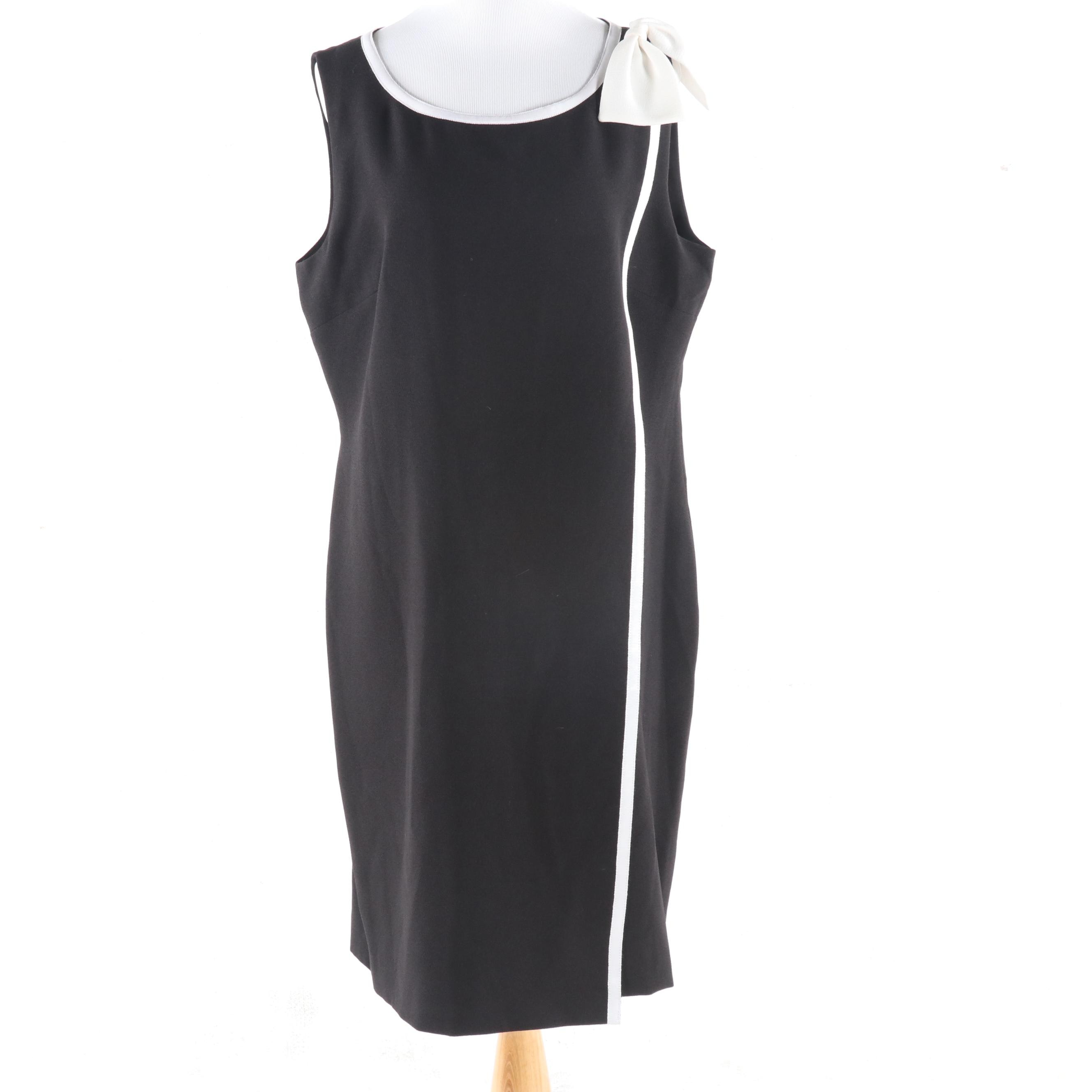 Karl Lagerfeld Paris Black Crepe Sleeveless Shift Dress