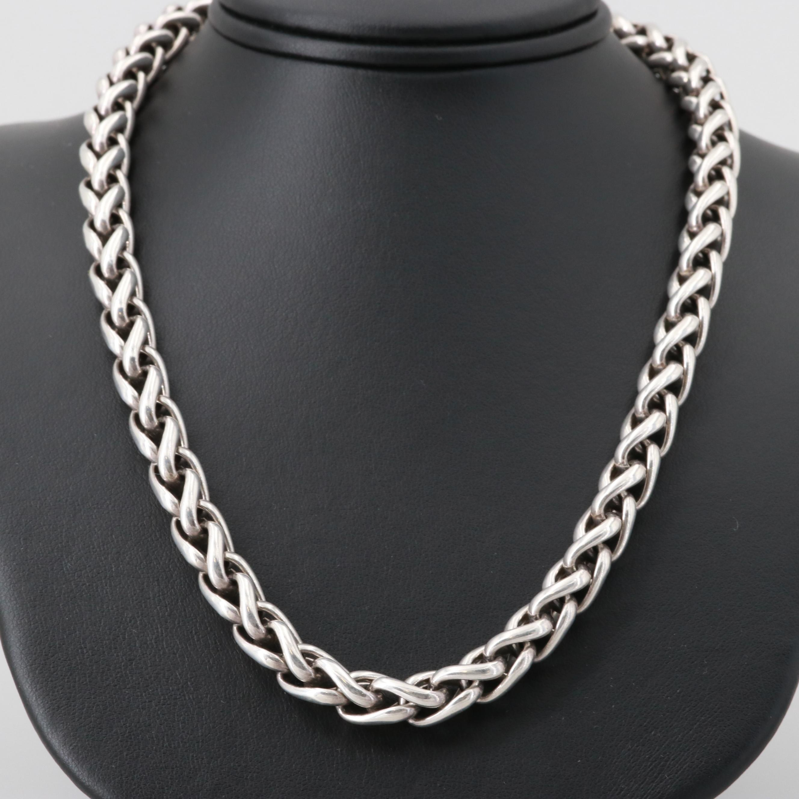David Yurman Sterling Silver Wheat Chain Necklace with 14K Yellow Gold