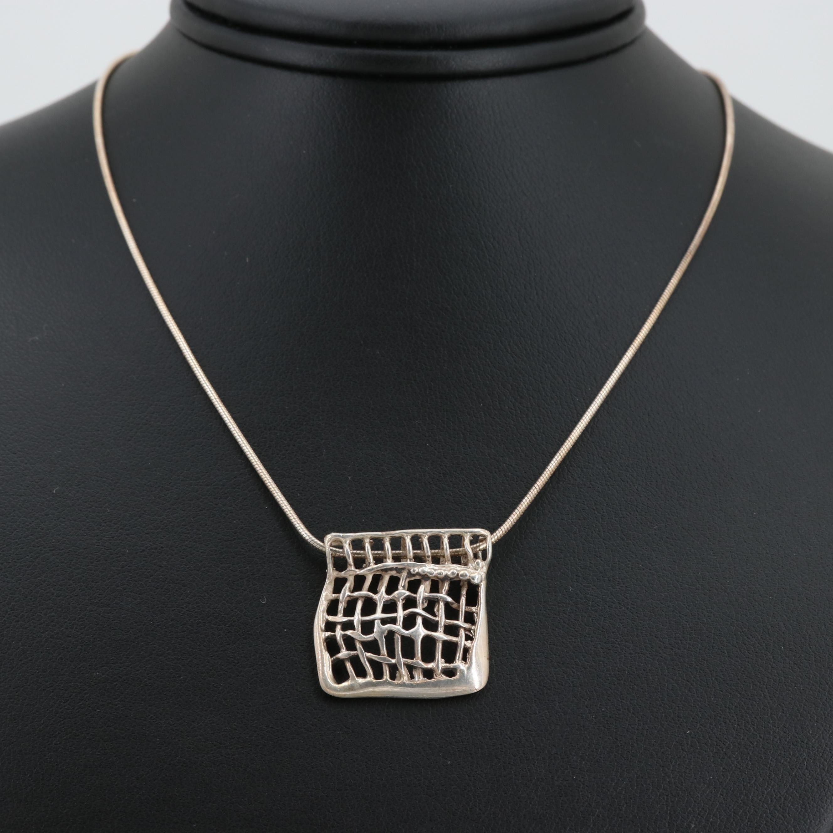 Sterling Silver Open Work Pendant Necklace
