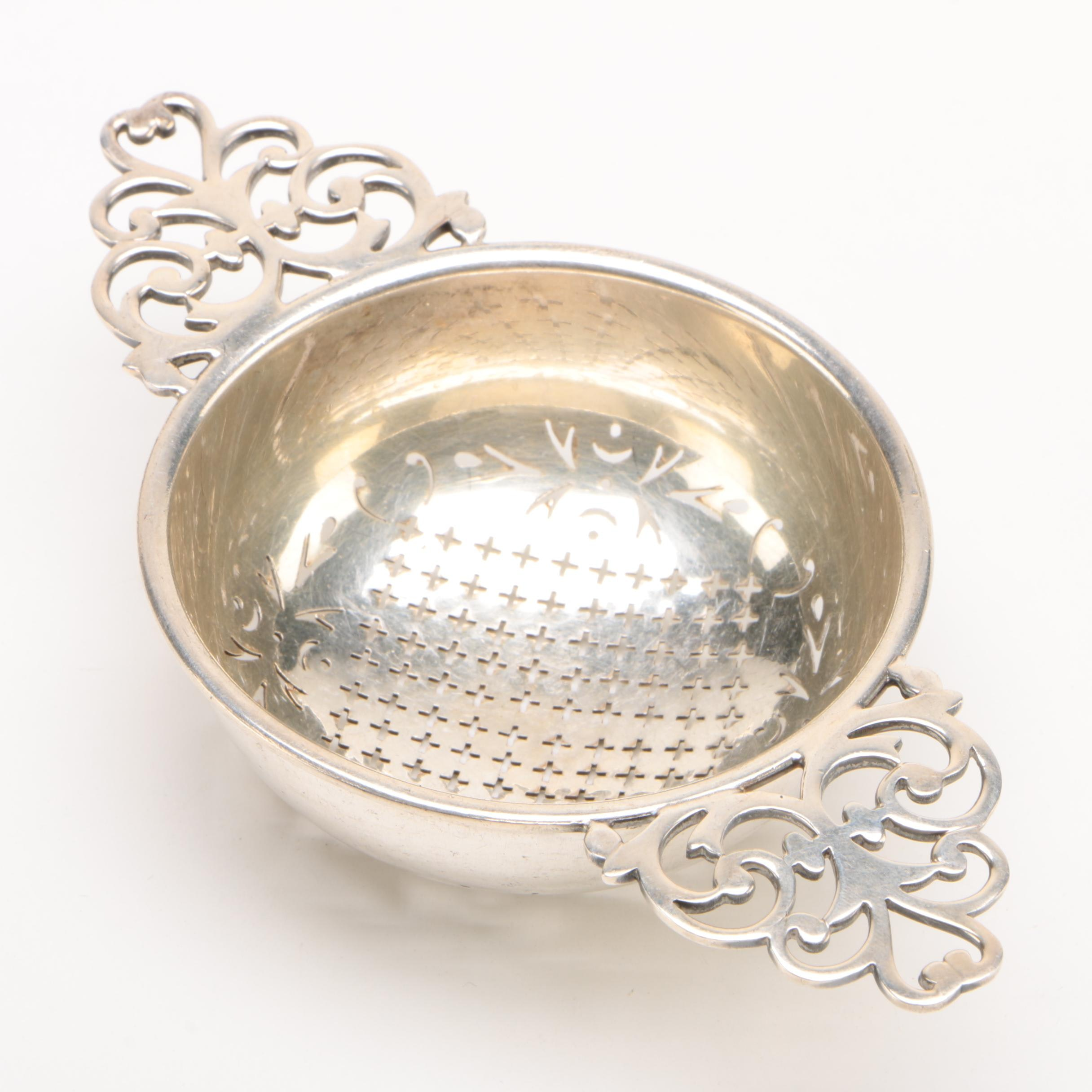 English Silver Plate Tea Strainer with Pierced Handles