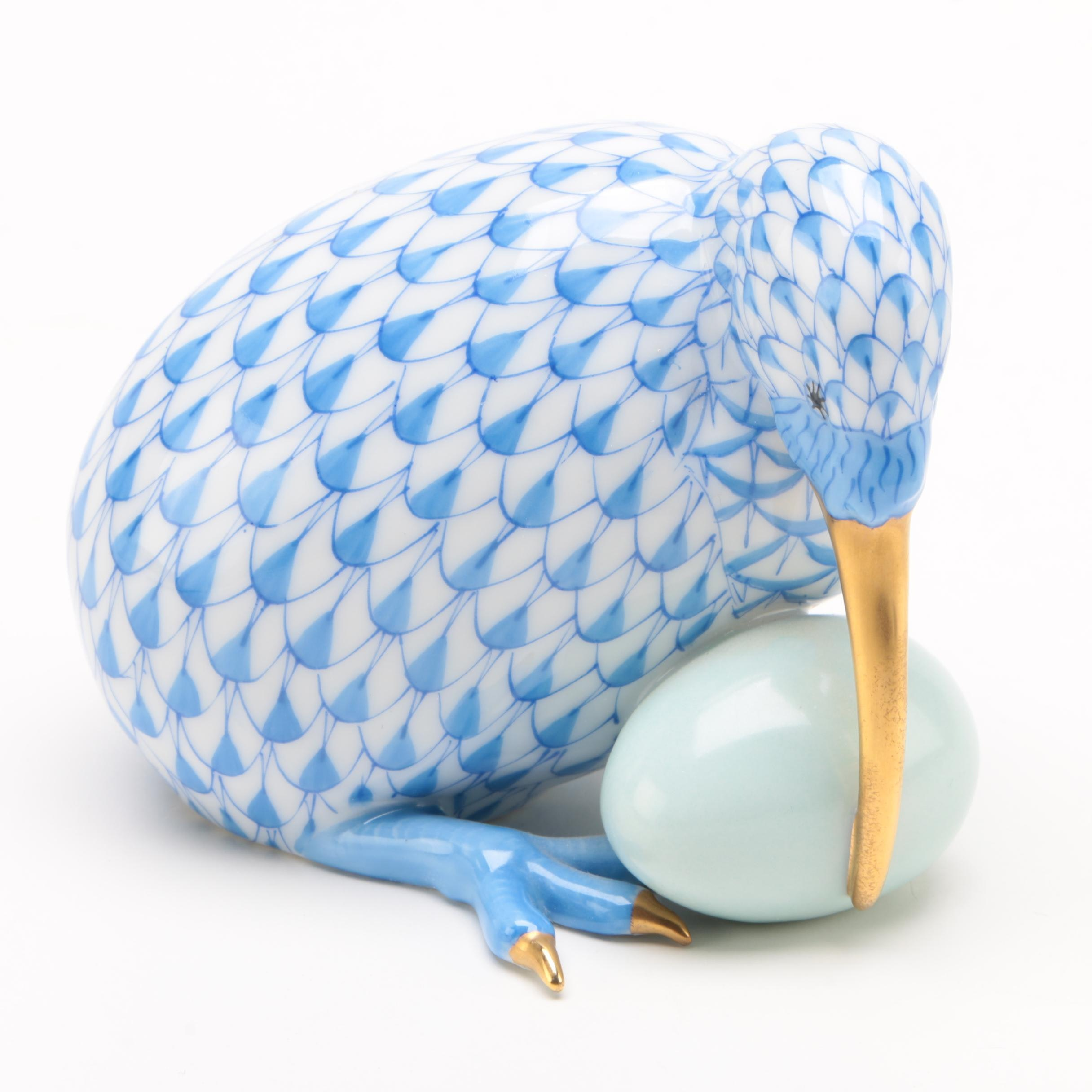 "Herend Blue Fishnet ""Kiwi Bird with Egg"" Porcelain Figurine, May 1992"