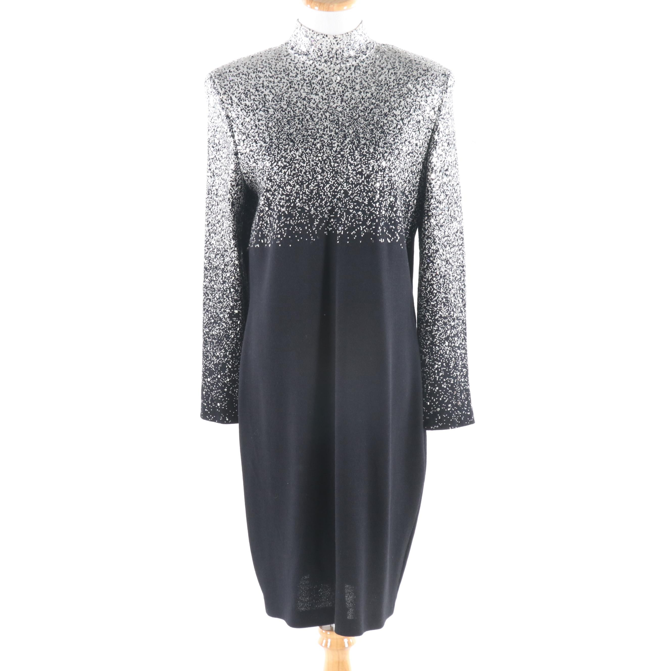 St. John Evening Embellished Mock Turtleneck Knit Cocktail Dress