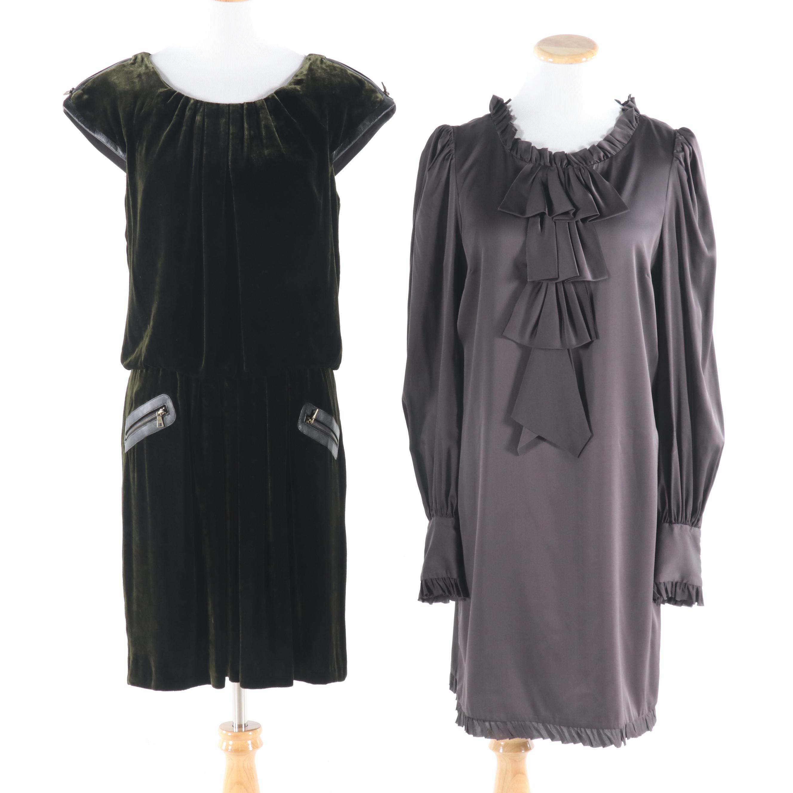 Milly Of New York Gray Silk Charmeuse and Cynthia Steffe Green Velvet Dresses
