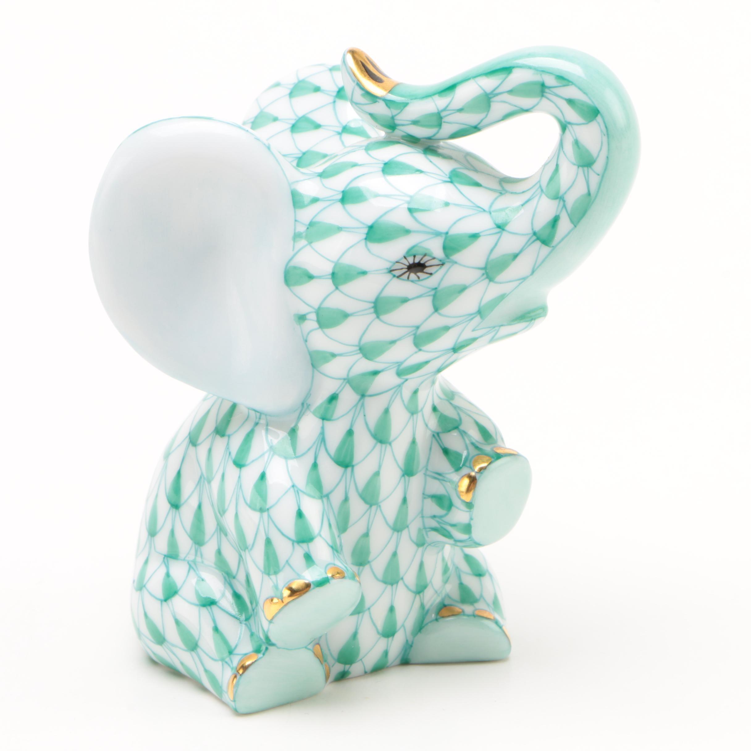 "Herend Green Fishnet ""Baby Elephant"" Porcelain Figurine"