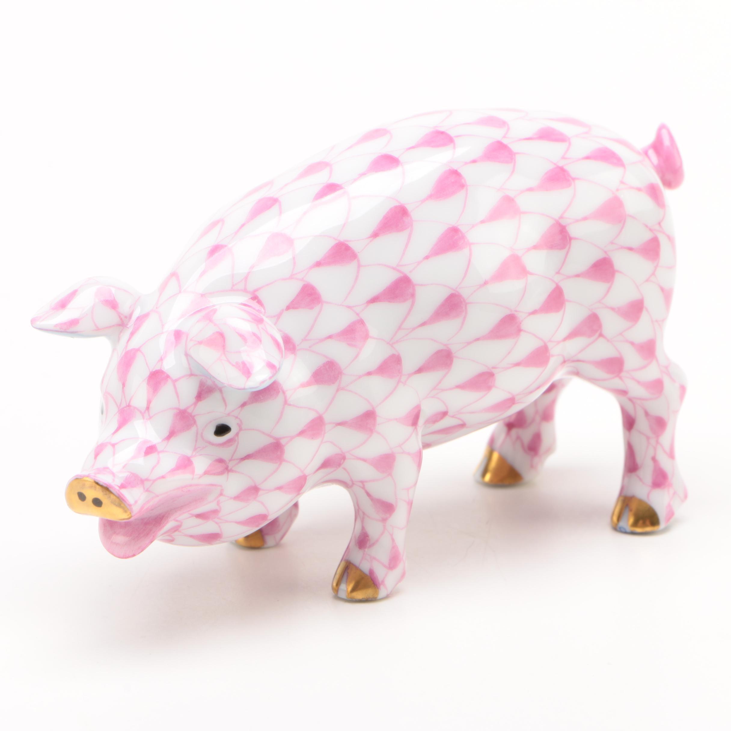 "Herend Raspberry Fishnet ""Pig"" Porcelain Figurine"
