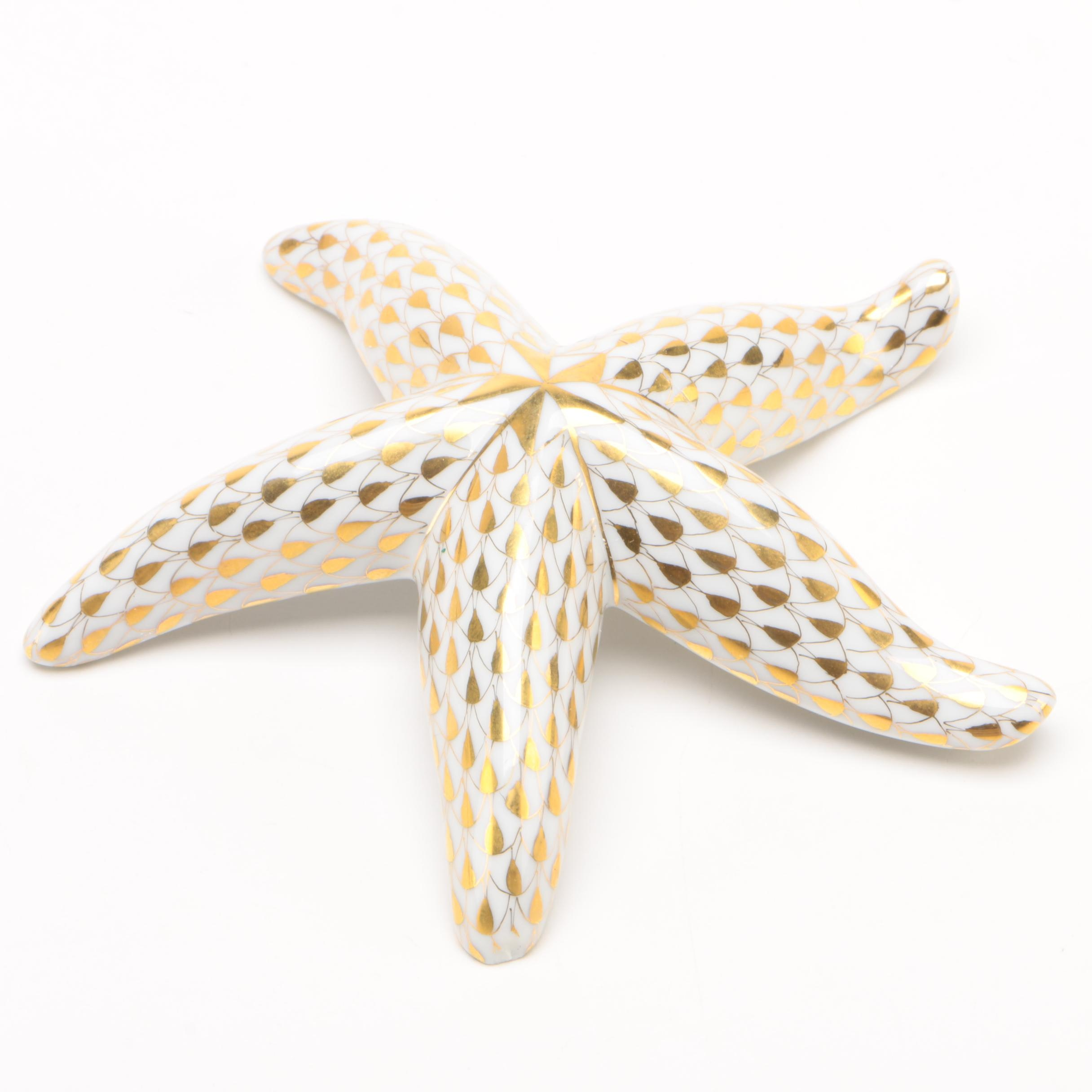 "Herend Artist Show Gold Fishnet ""Starfish"" Porcelain Figurine, June 1997"