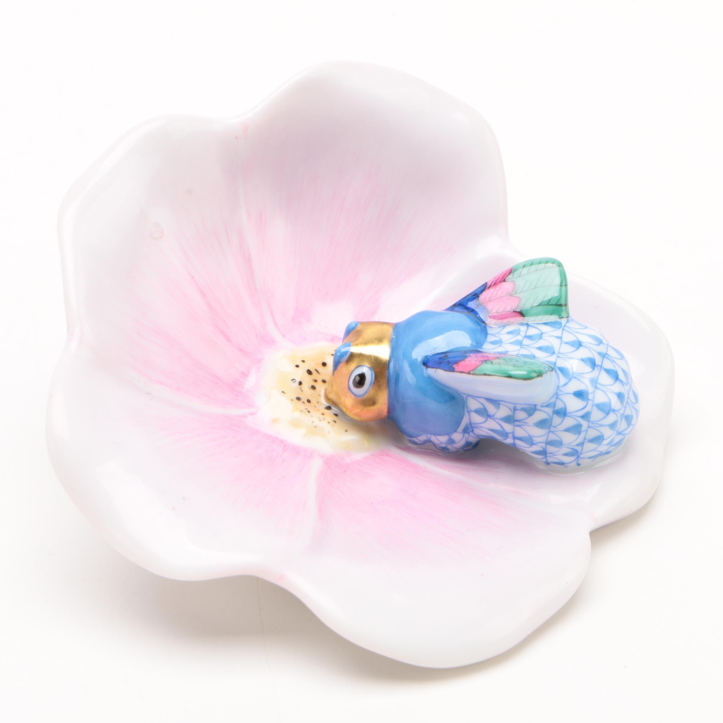 """Herend Blue Fishnet """"Ladybug on Flower"""" Porcelain Figurine"""