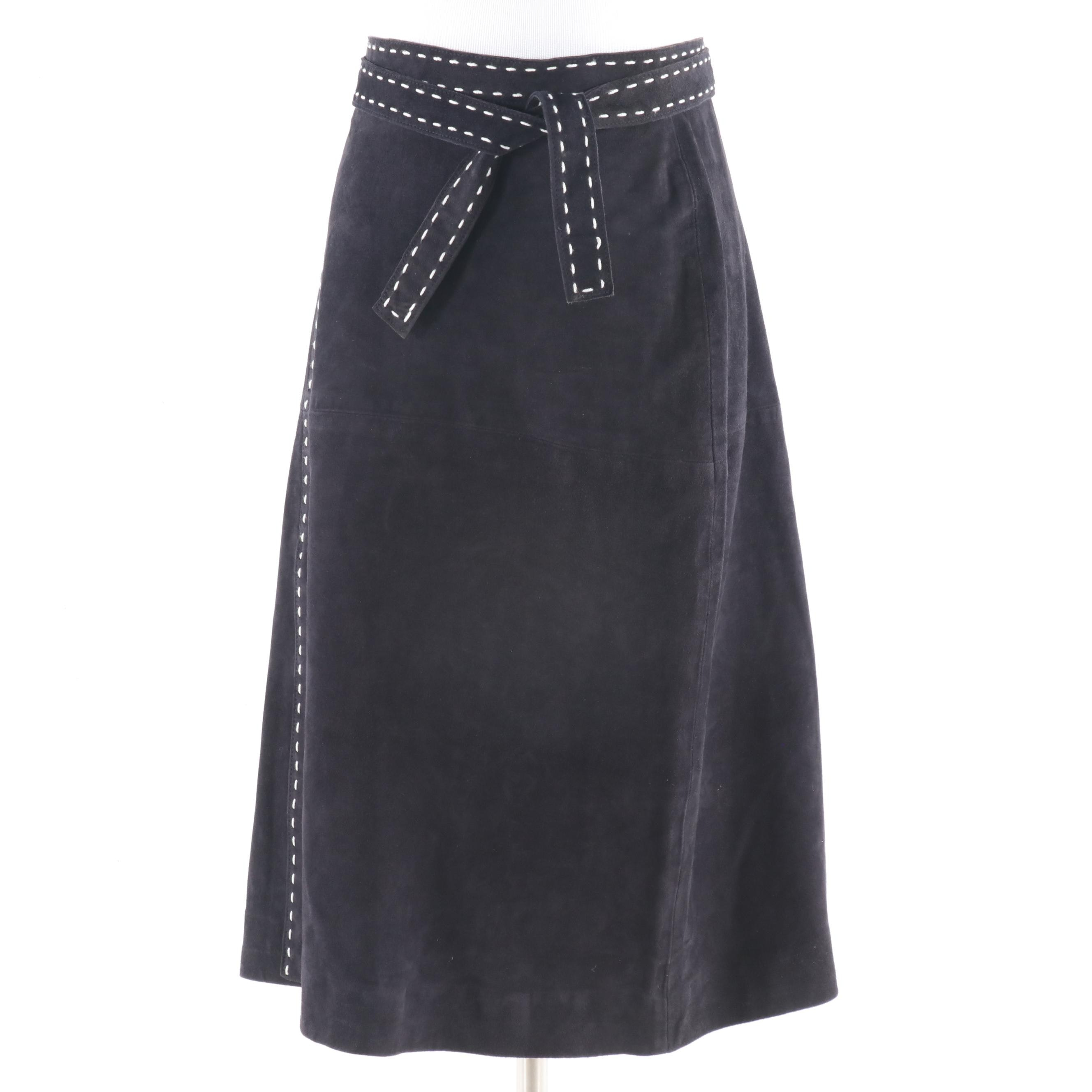 Philippe Adec Paris Black Lambskin Suede Skirt with White Contrast Stitching