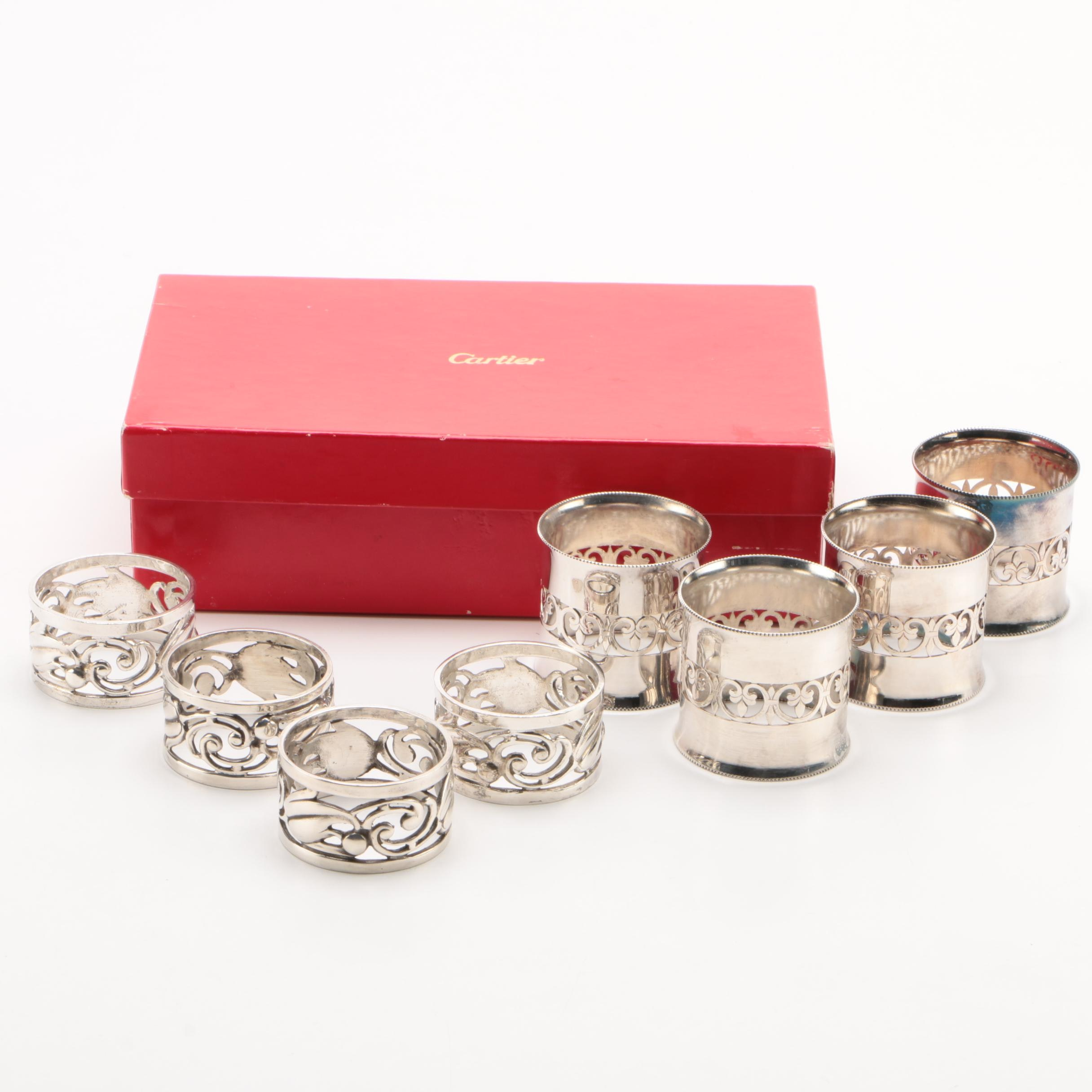 Cartier Sterling Silver Napkin Rings with Italian Silver Plate Pierced Rings