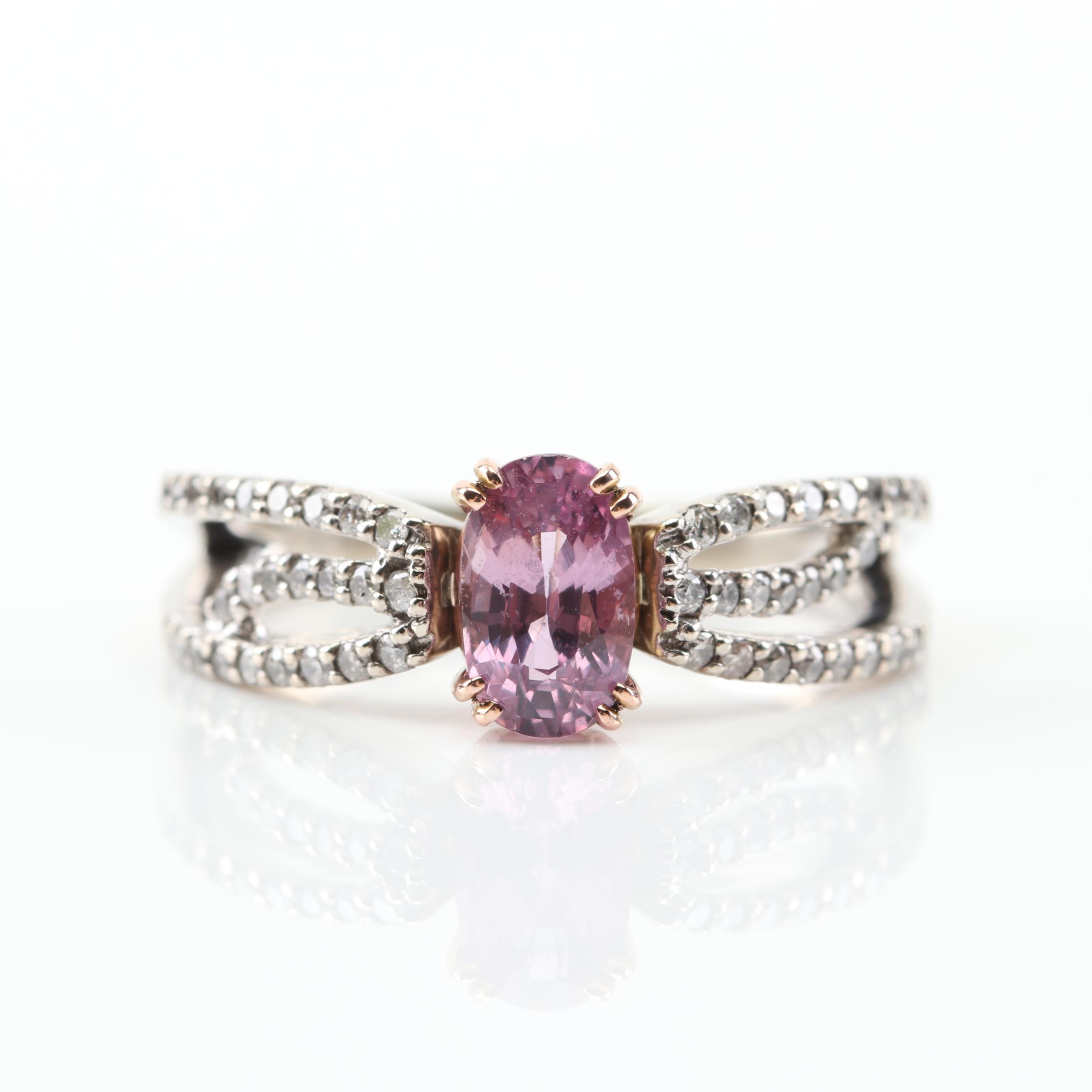 14K White Gold Pink Sapphire and Diamond Ring with 14K Yellow Gold Prongs
