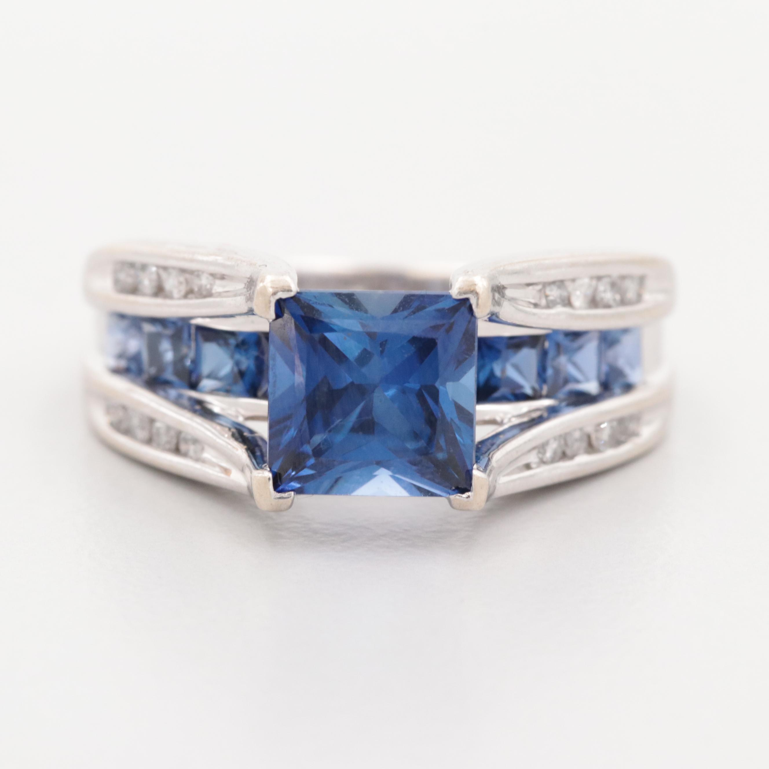 10K White Gold Synthetic Sapphire and Diamond Ring