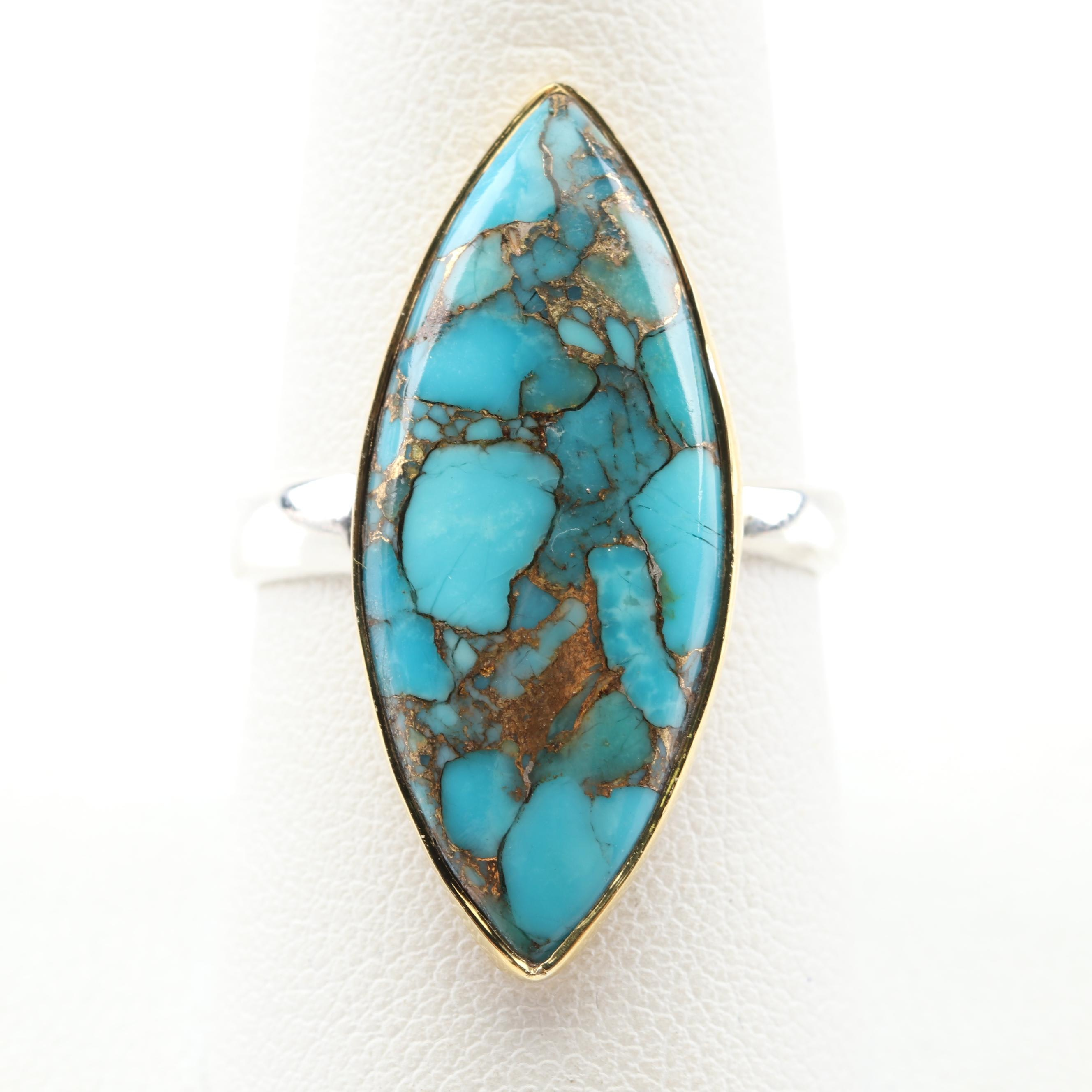Sterling Silver Turquoise Ring with Gold Wash Accents