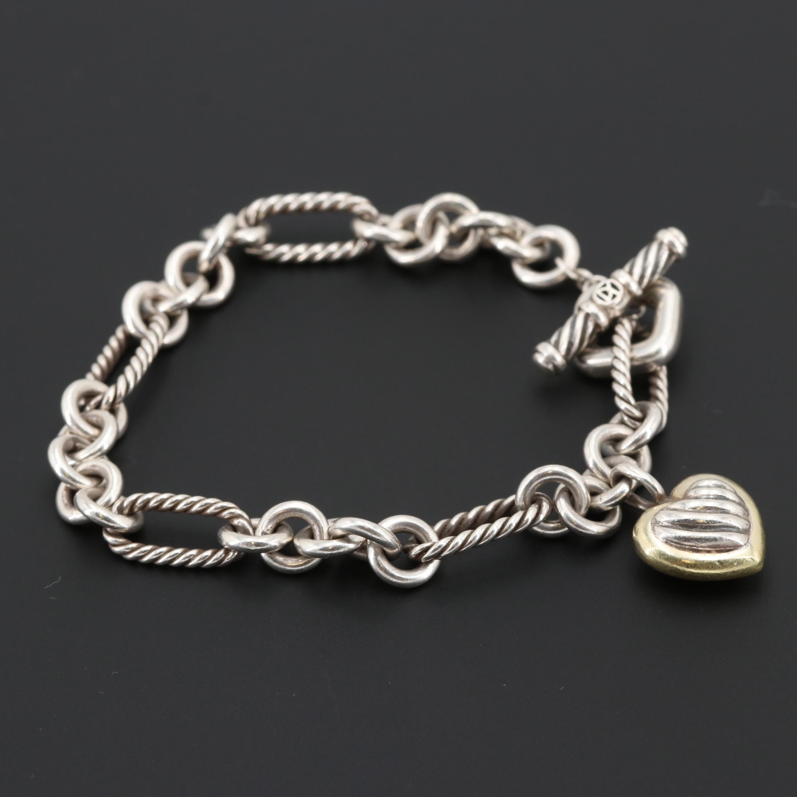 David Yurman Sterling Silver Heart Charm Bracelet with 18K Yellow Gold Accent