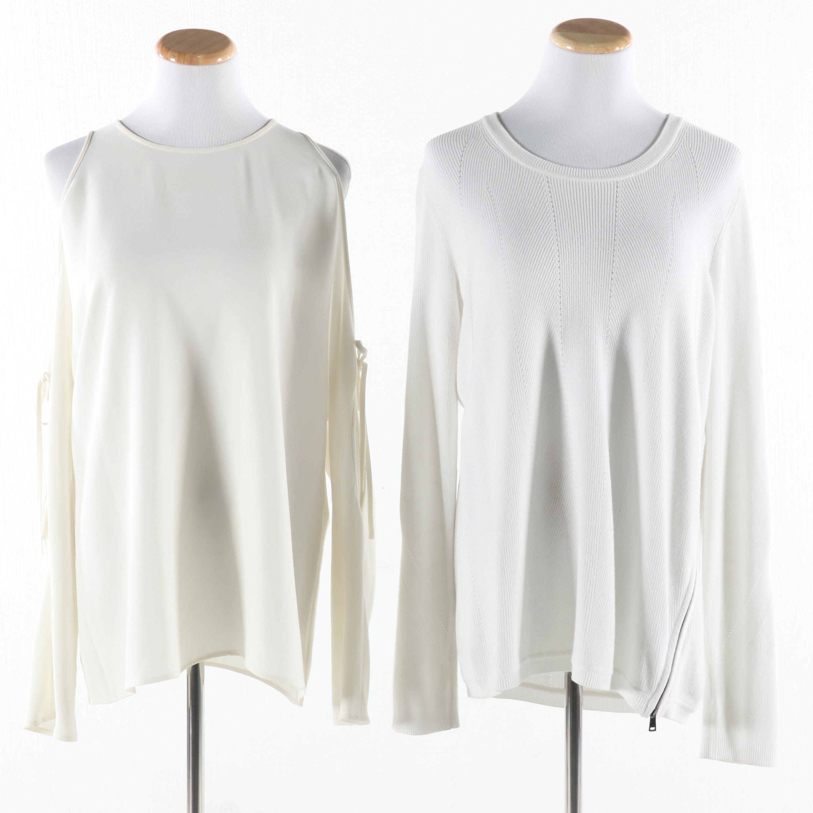 Theory Ecru Crepe Cold Shoulder Blouse And Vince White Side Zip Pullover Sweater