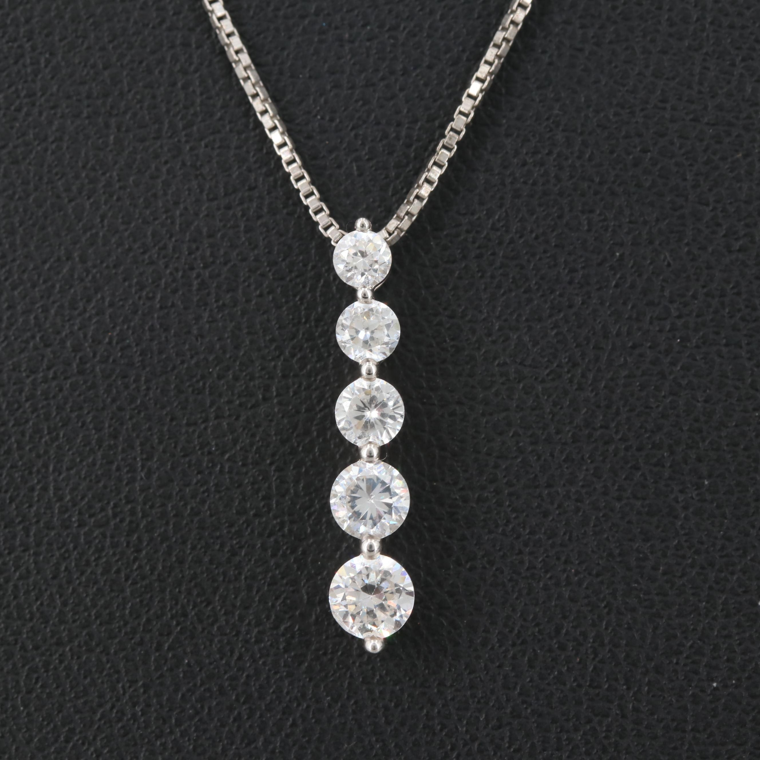 Sterling Silver Cubic Zirconia Drop Pendant Necklace