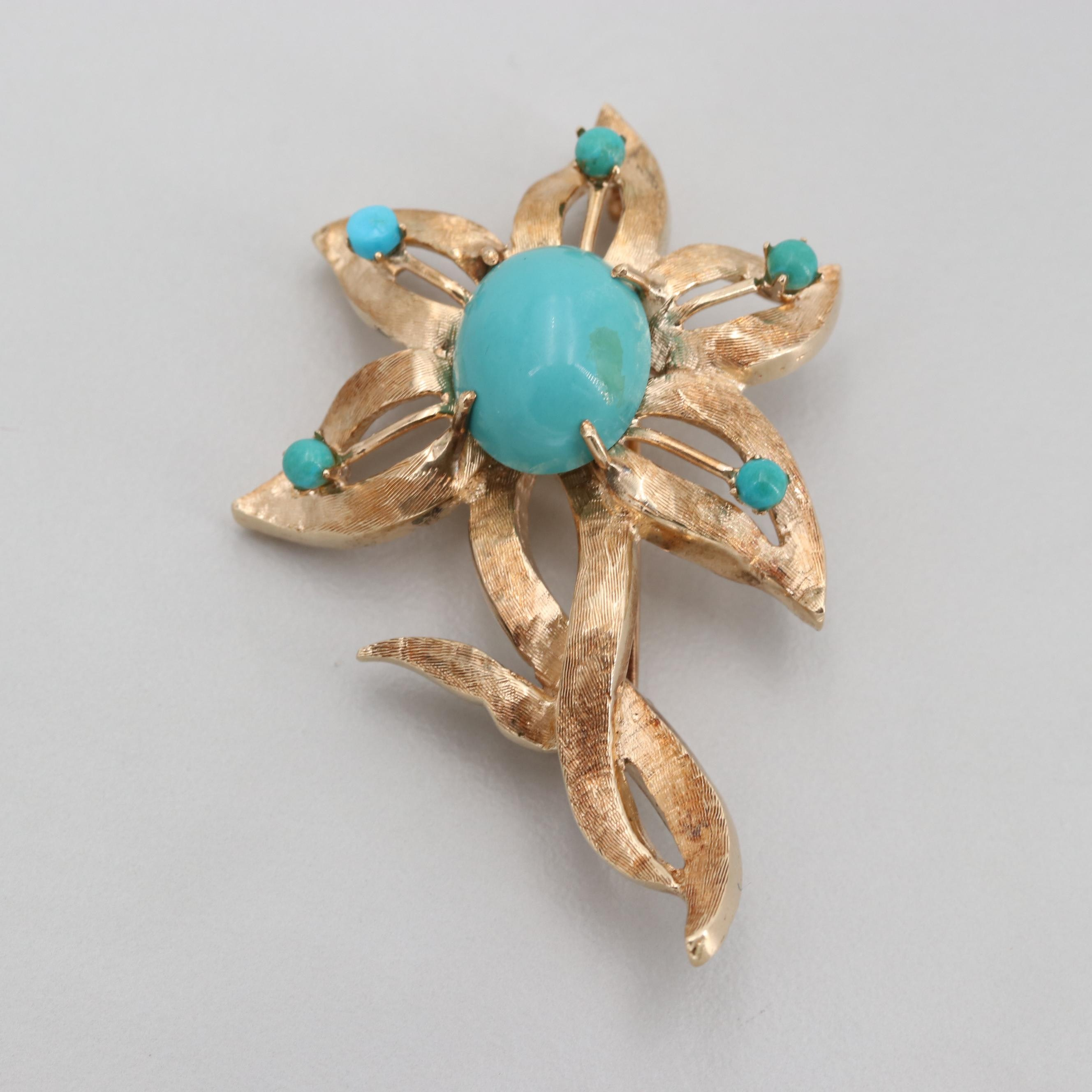 Vintage 14K Yellow Gold Turquoise Flower Brooch