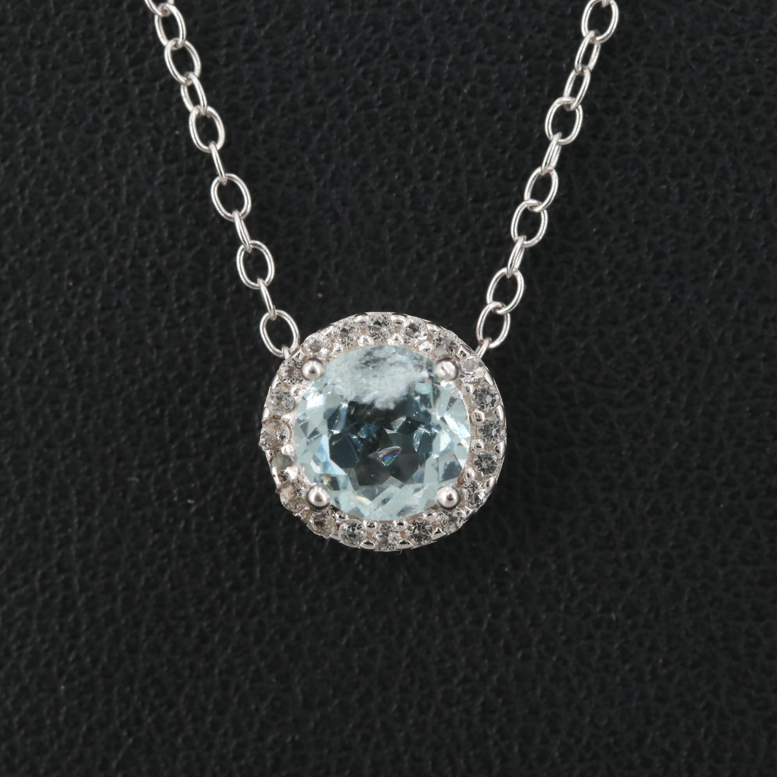 Sterling Silver Aquamarine and White Topaz Necklace