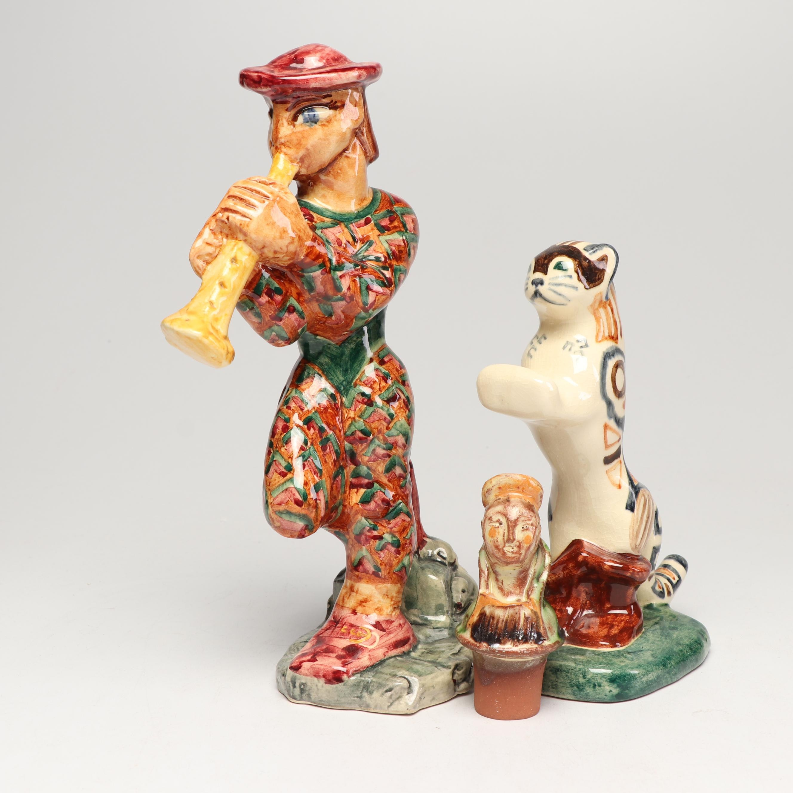 """ShearWater Pottery """"Pied Piper"""" and """"Puss in Boots"""" and Other Figurines, 1990s"""