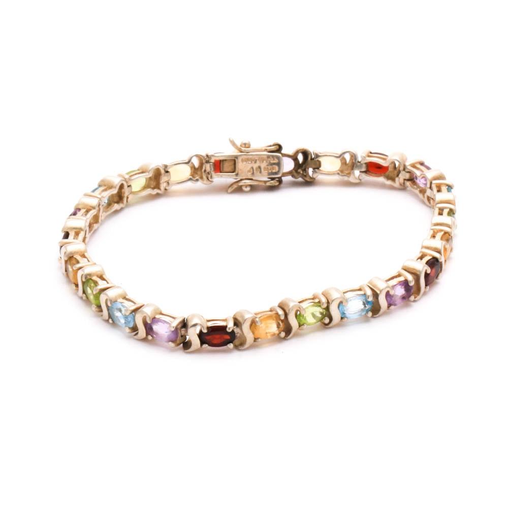 Sterling Silver Gemstones Bracelet