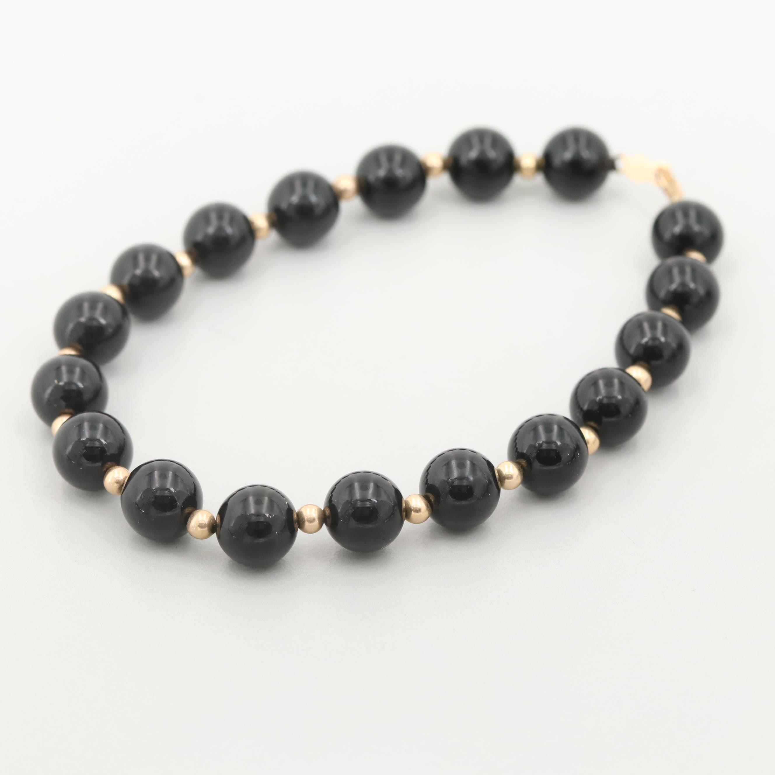 Black Onyx Bead Bracelet with 14K Yellow Gold