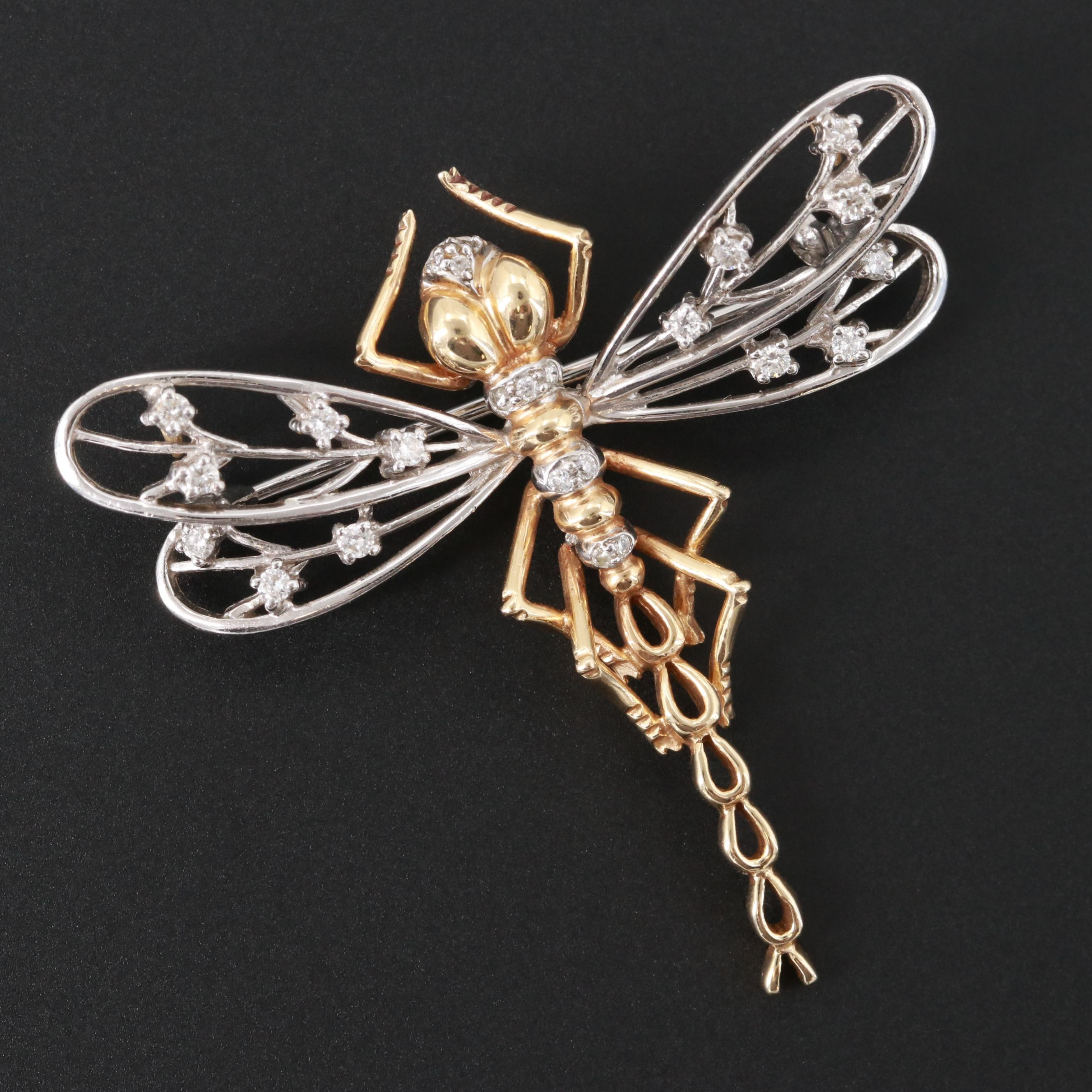 14K White and Yellow Gold Diamond Dragonfly Converter Brooch