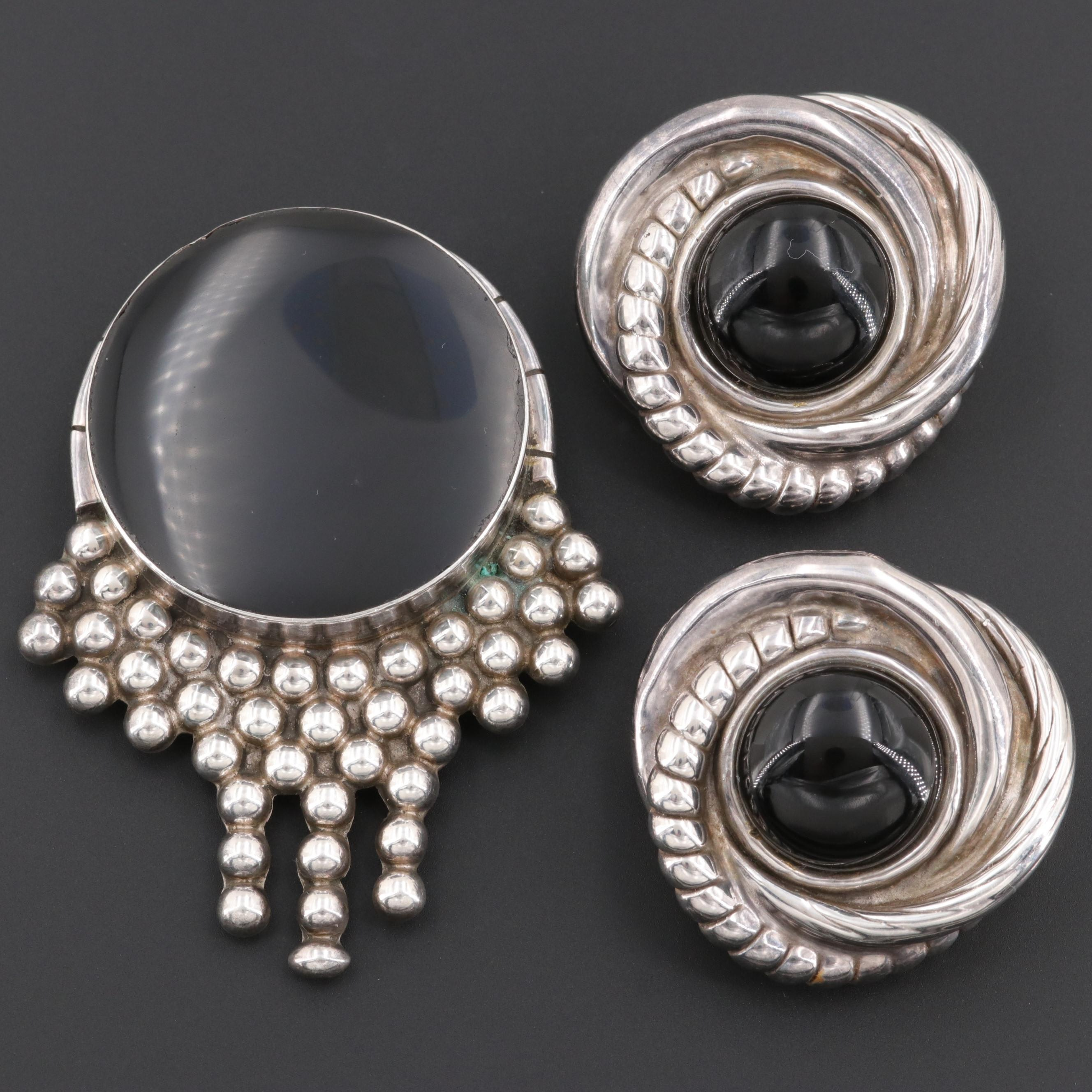 Mexican Sterling Silver Obsidian and Black Onyx Brooch and Clip On Earrings