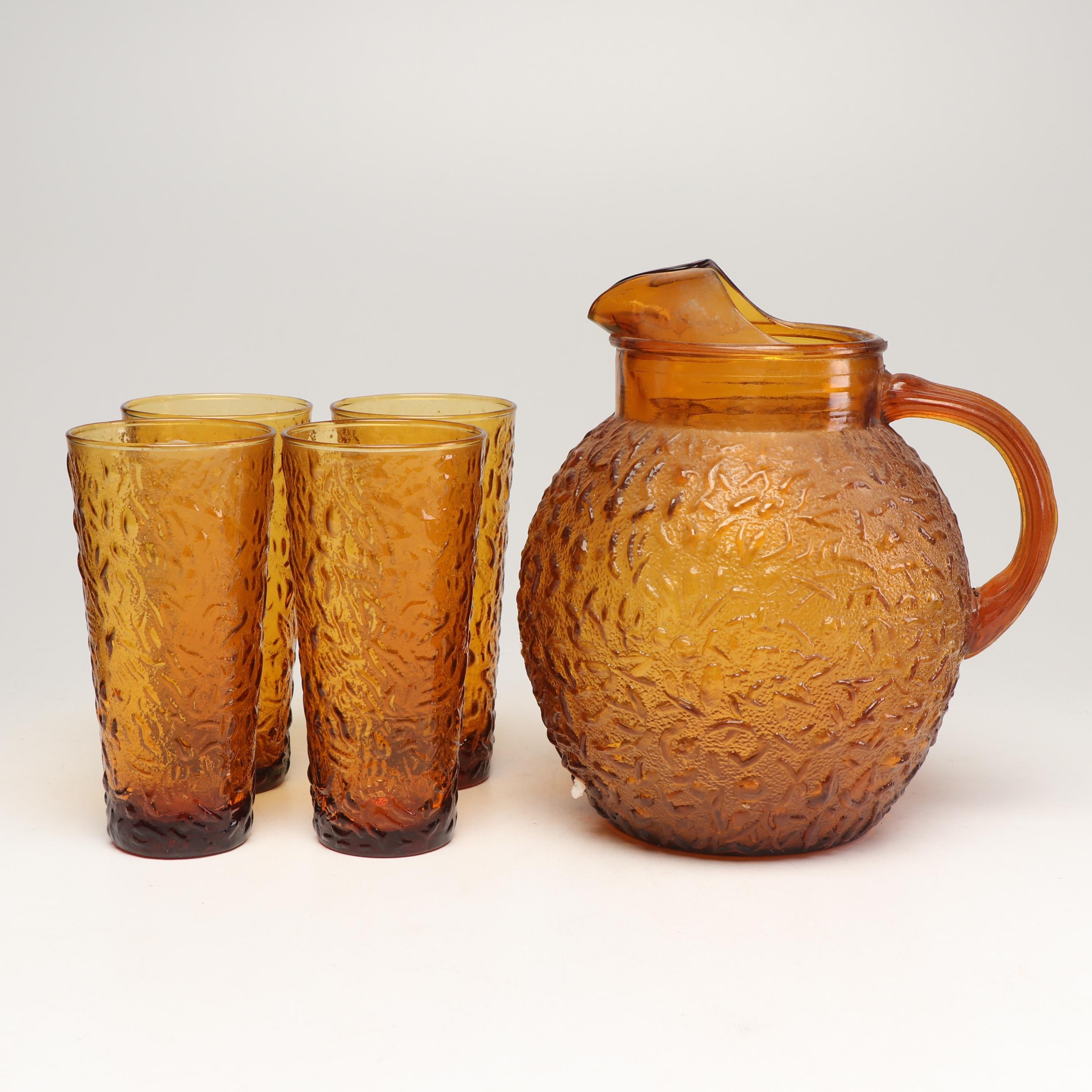 "Anchor Hocking Amber ""Lido Milano"" Pitcher and Drinkware"