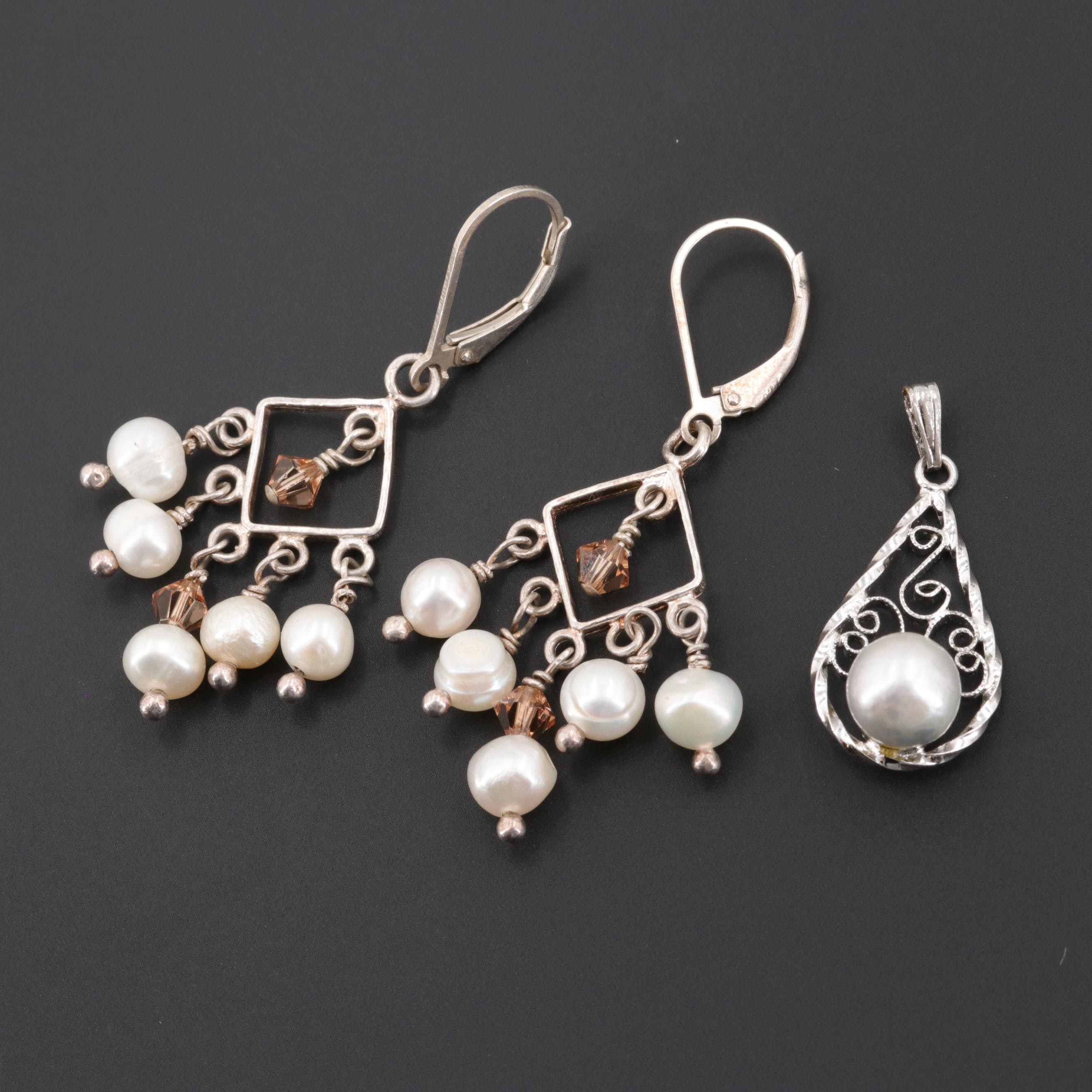 Sterling Silver Cultured Pearl and Glass Earrings and Pendant