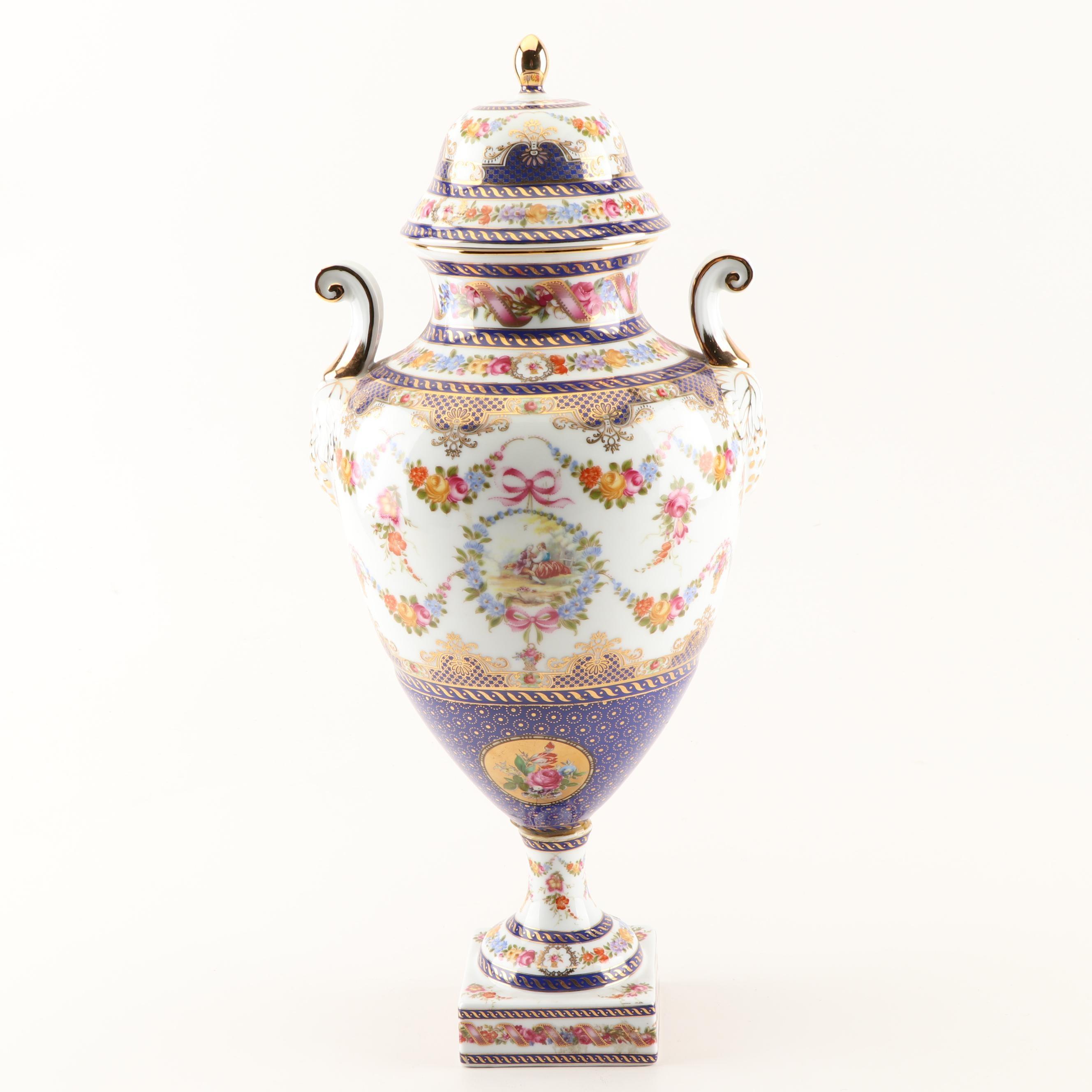 Gilt Porcelain Urn with Floral Designs