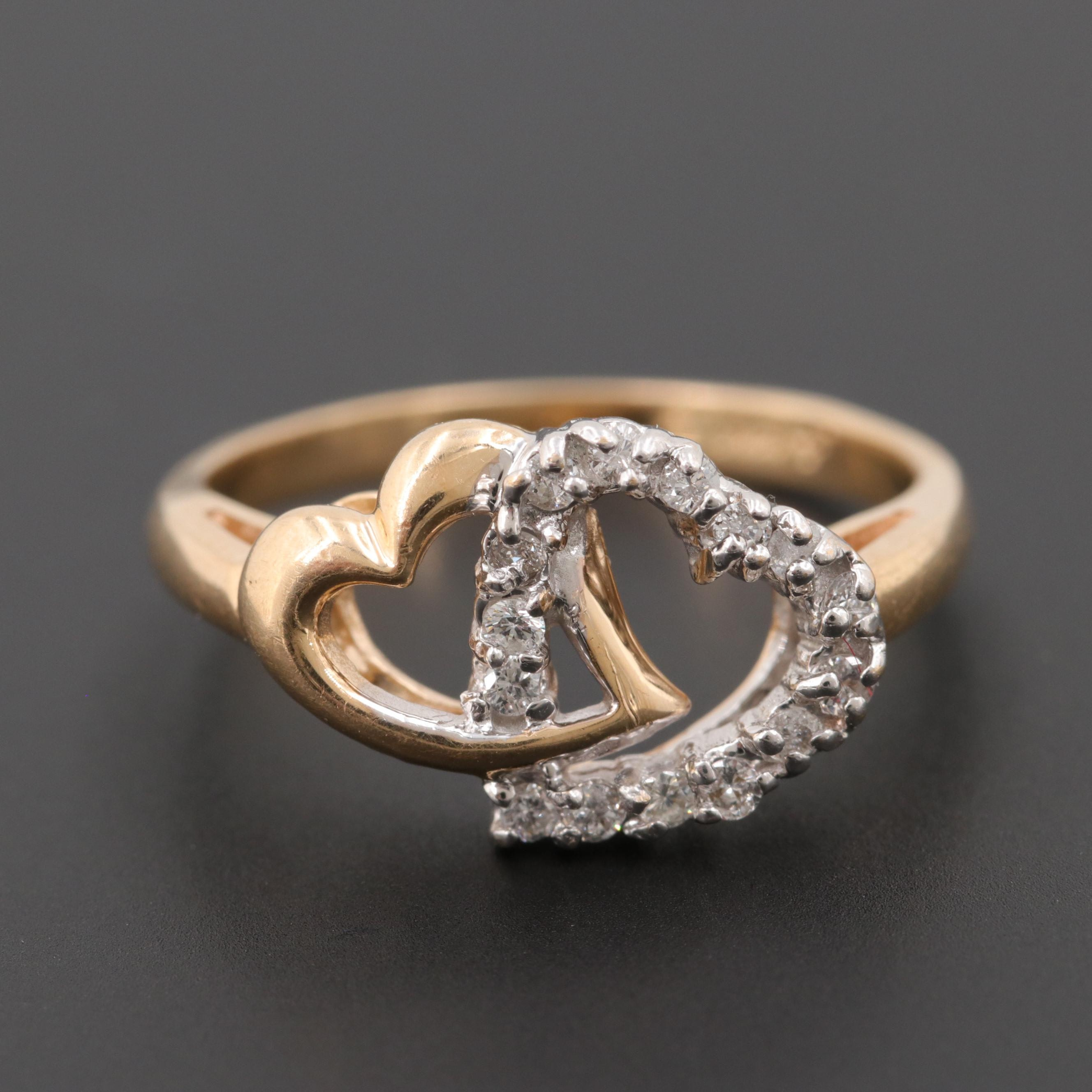 14K Yellow Gold Diamond Ring with a White Gold Top