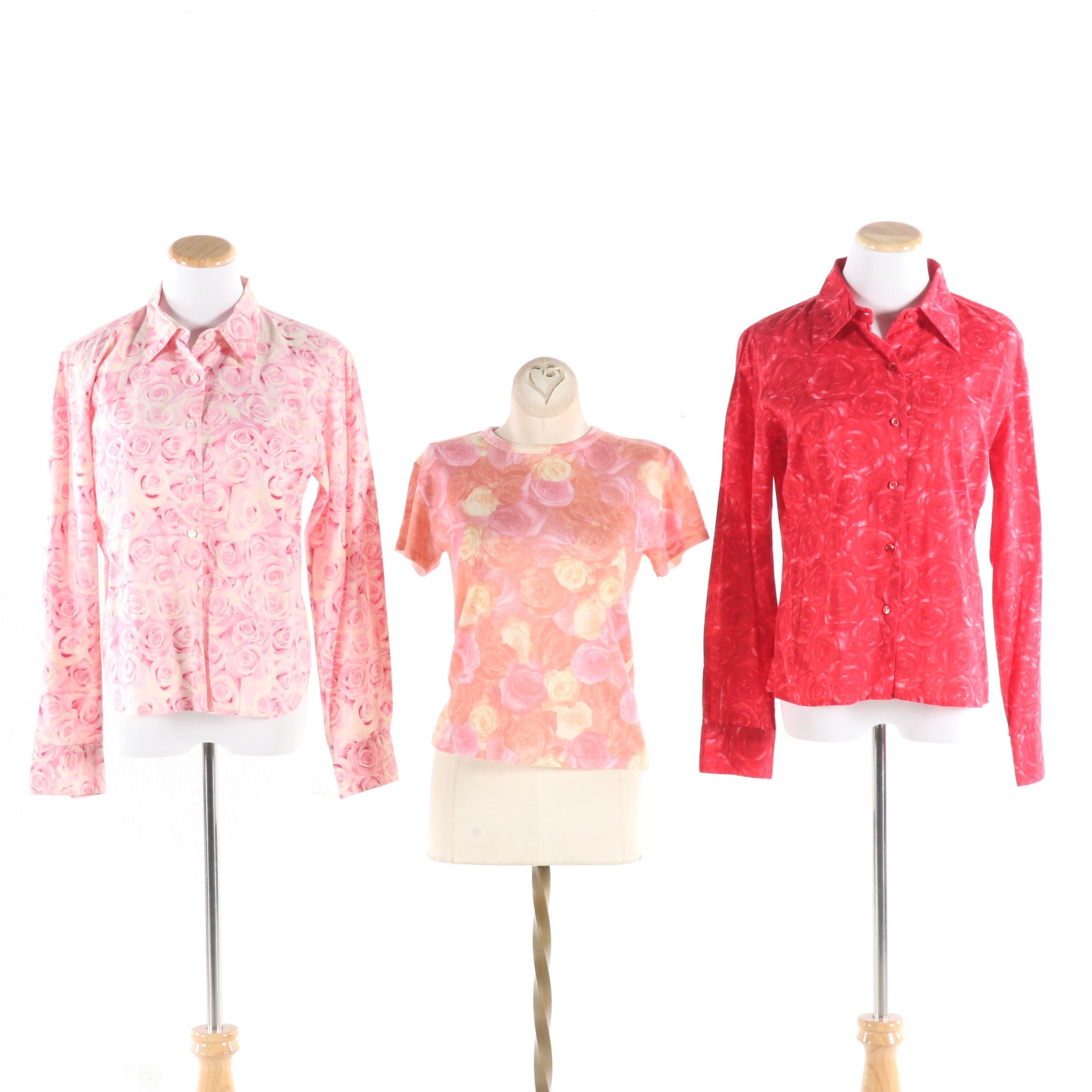 Agnes B. Paris Floral Print Button-Front Blouses and Knit Top