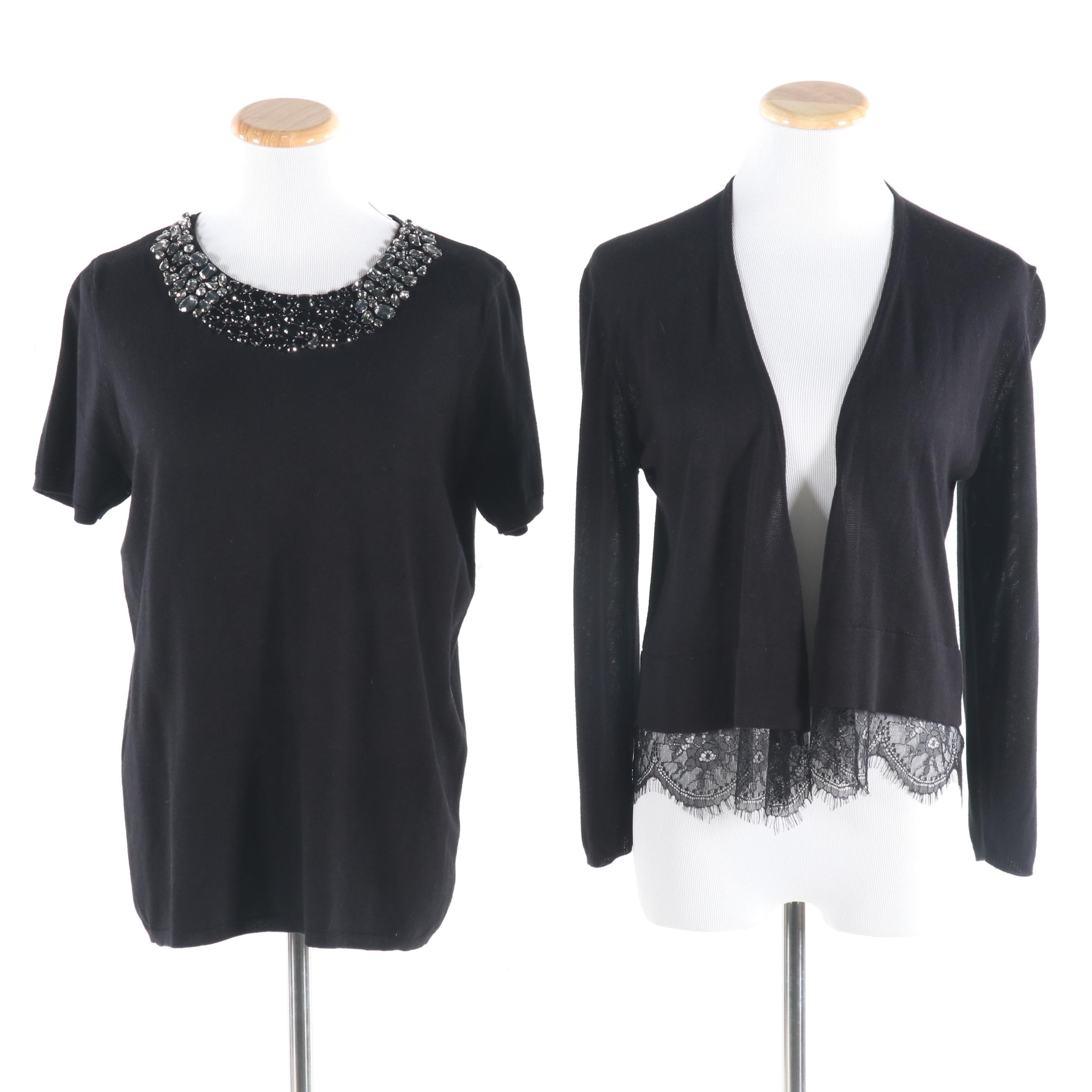 CARMEN Carmen Marc Valvo Embellished Black Rayon Knit Top and Cardigan with Lace