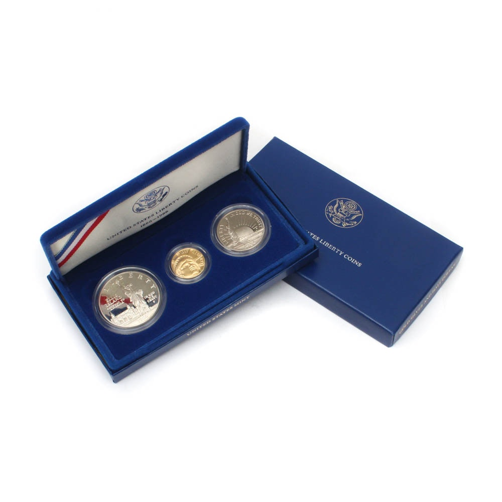 1986 Statue of Liberty Centennial Three-Coin Proof Set