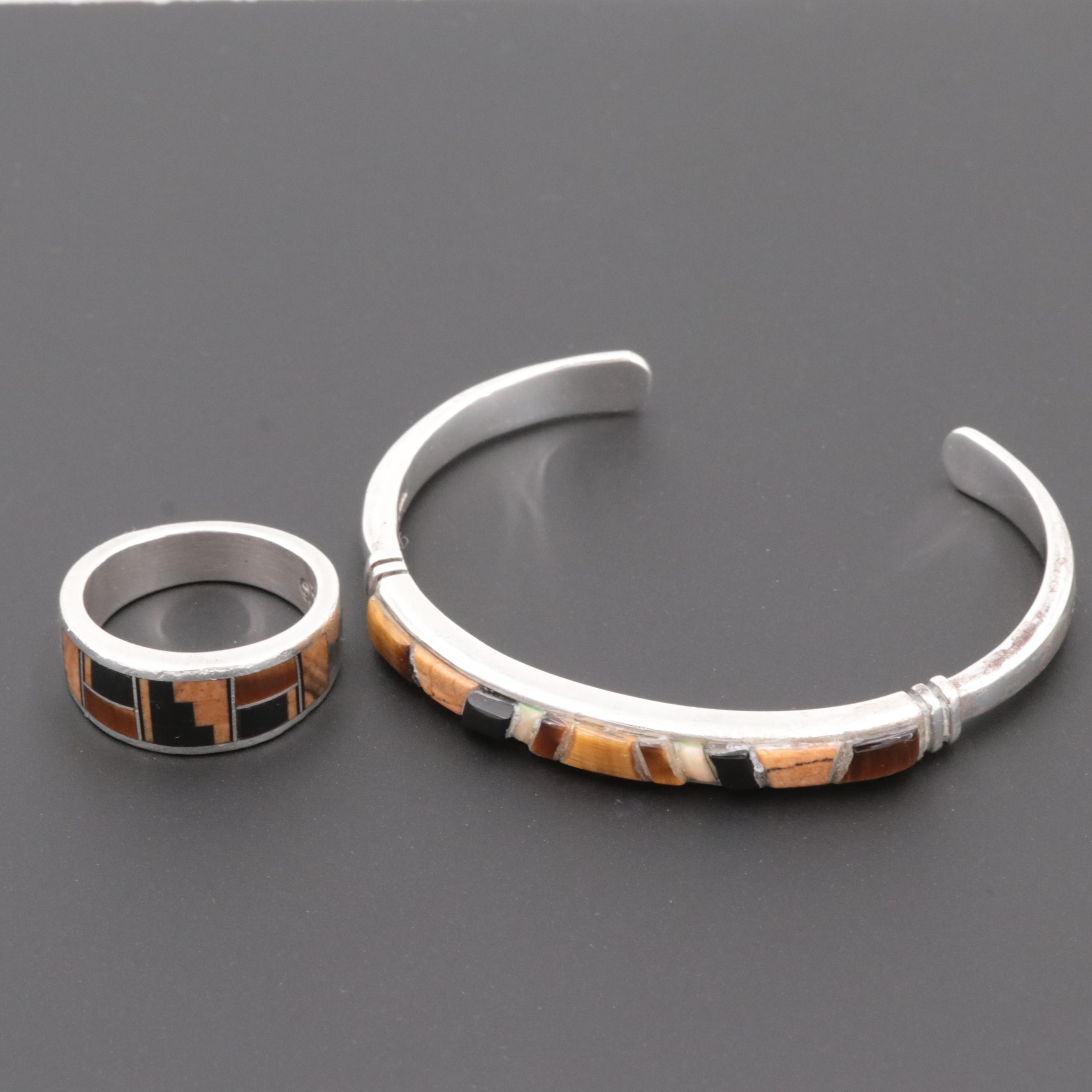 Sterling Silver Tiger's Eye, Opal and Obsidian Ring and Cuff Bracelet