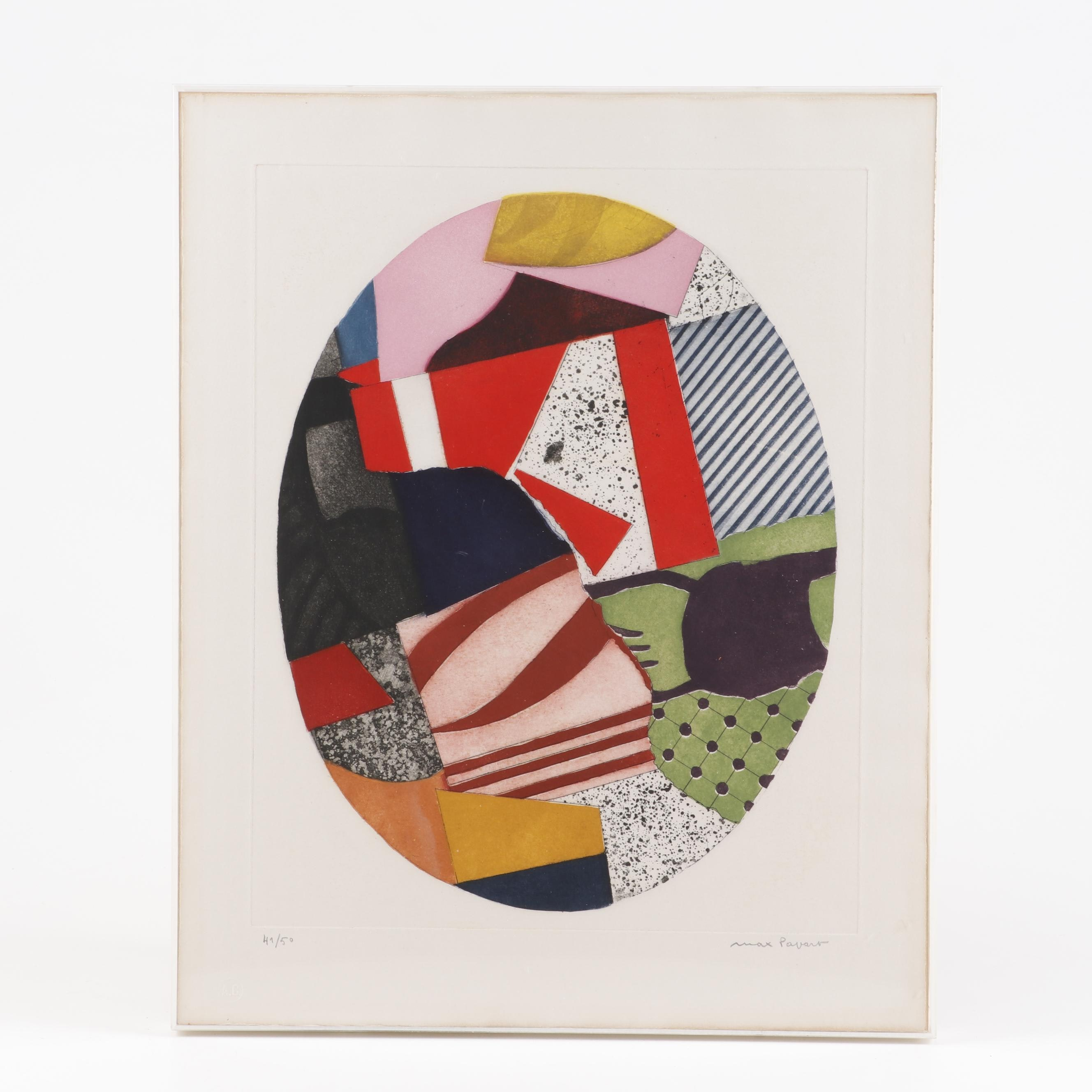 Max Povart Abstract Colored Engraving