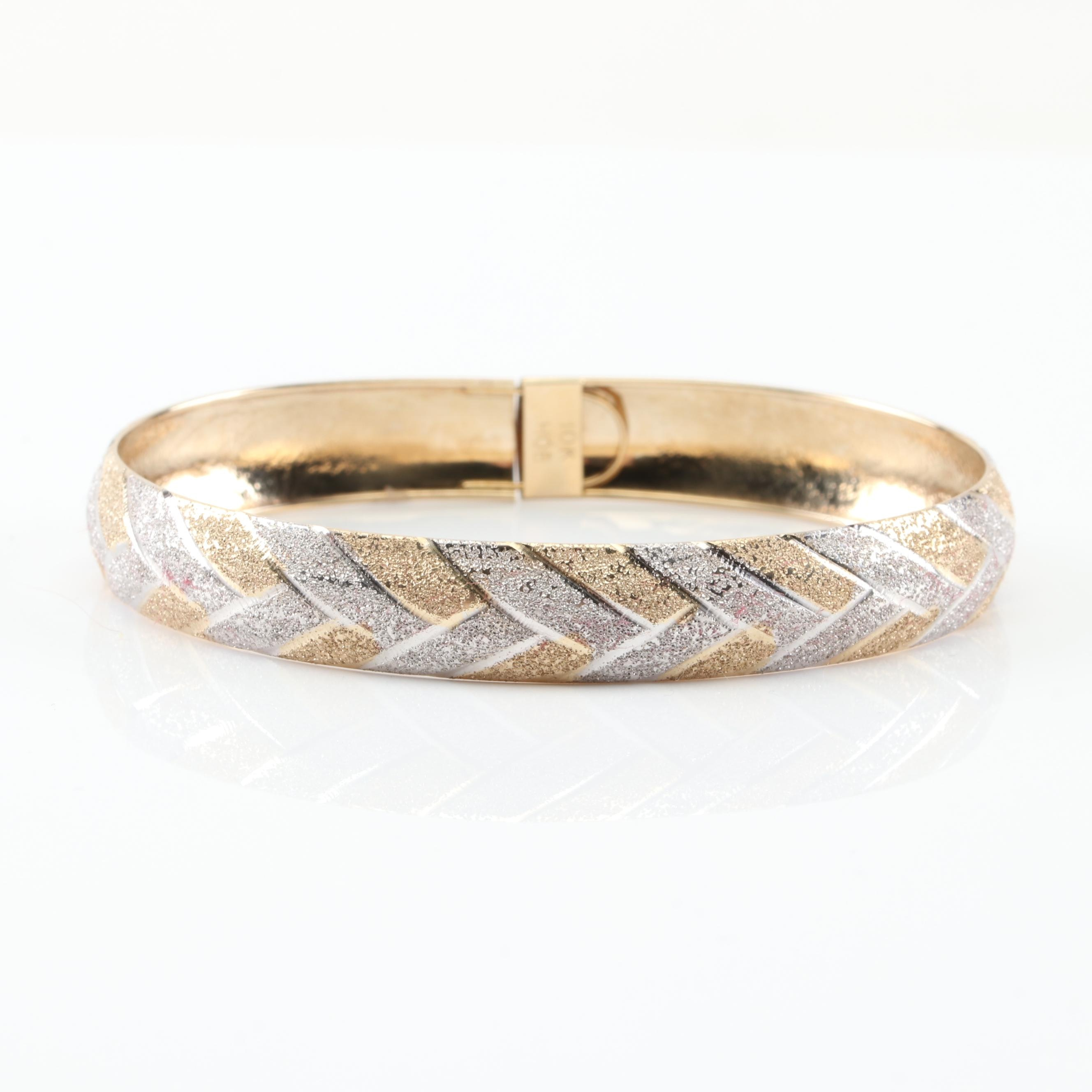 10K Yellow Gold and White Gold Granulated Finish Flexible Bangle