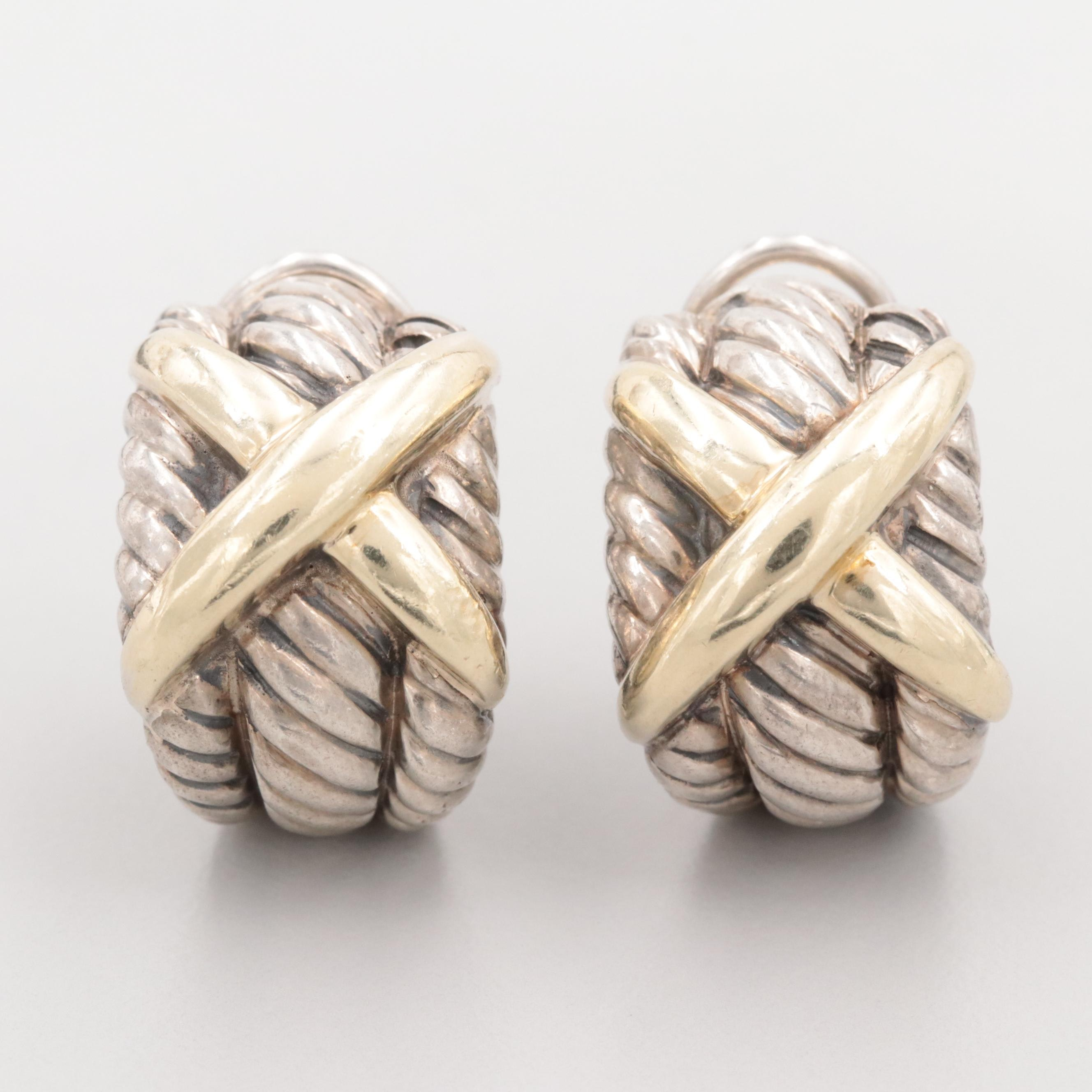 David Yurman Sterling Silver X Cable Earrings With 14K Yellow Gold Accents