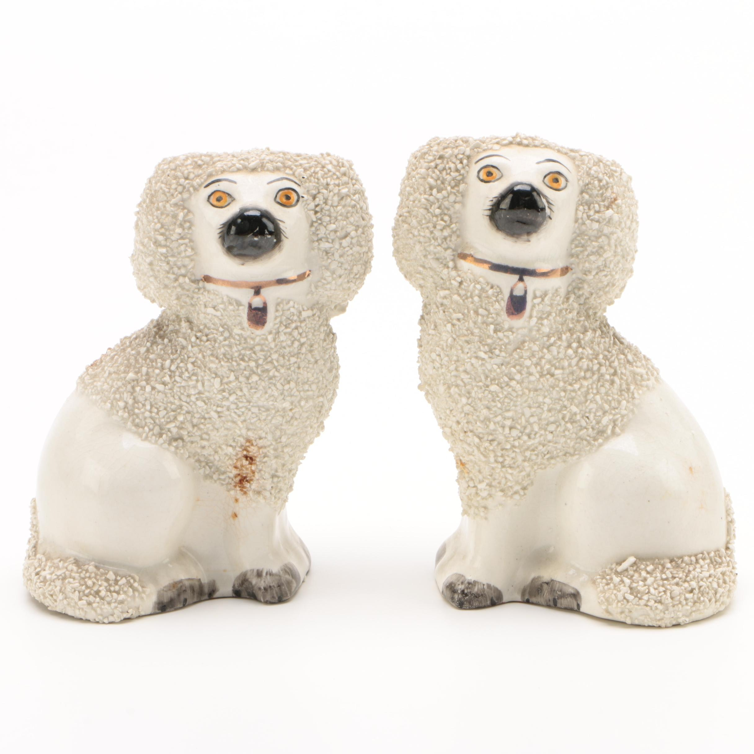Pair of Staffordshire Ceramic Spaniel Figurines, Early/Mid 20th Century