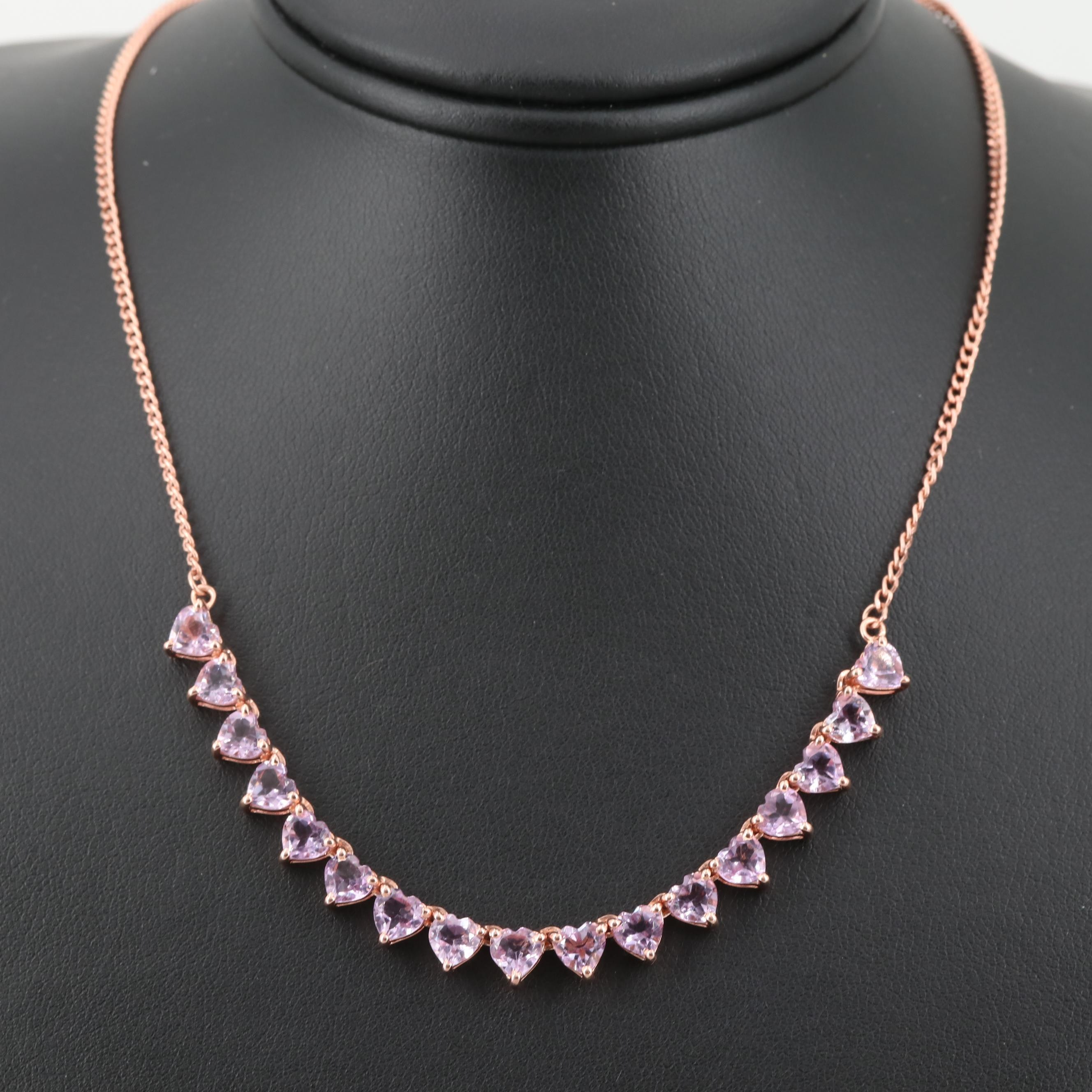 Rose Gold Wash on Sterling Silver Amethyst Necklace