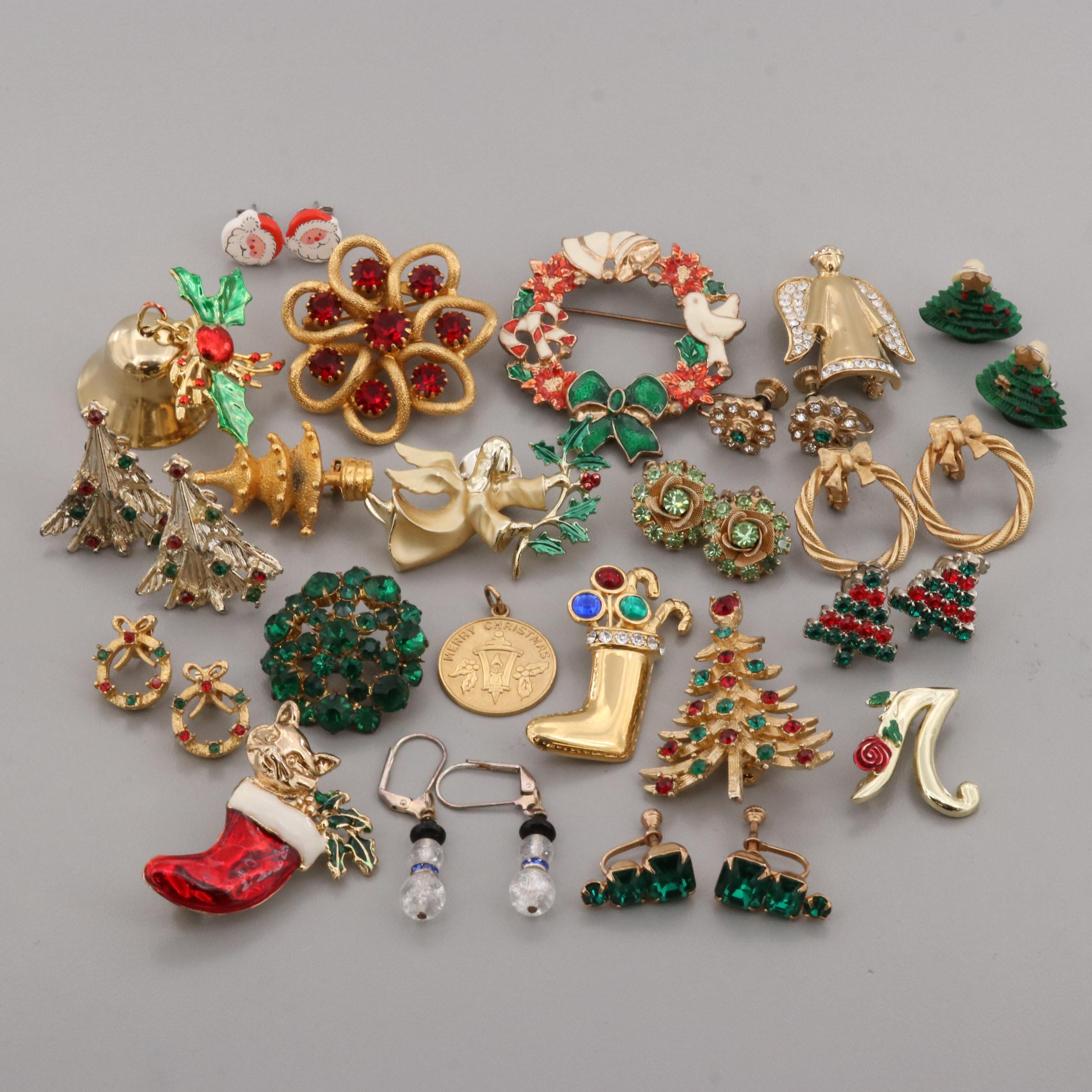 Assortment of Gold Tone Glass, Foilback Glass, and Enamel Christmas Jewelry