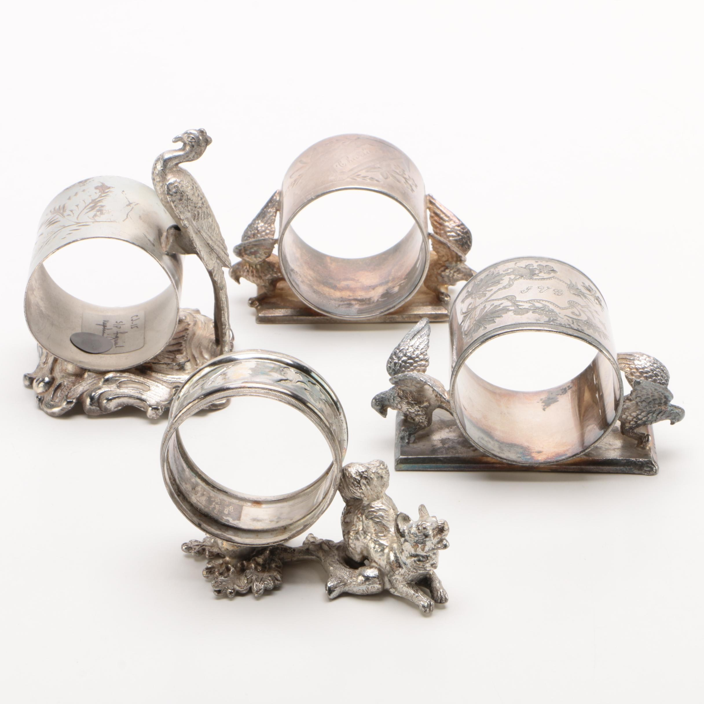 Meriden Britannia Co. Silver Plate Napkin Rings with Others, Early 20th Century