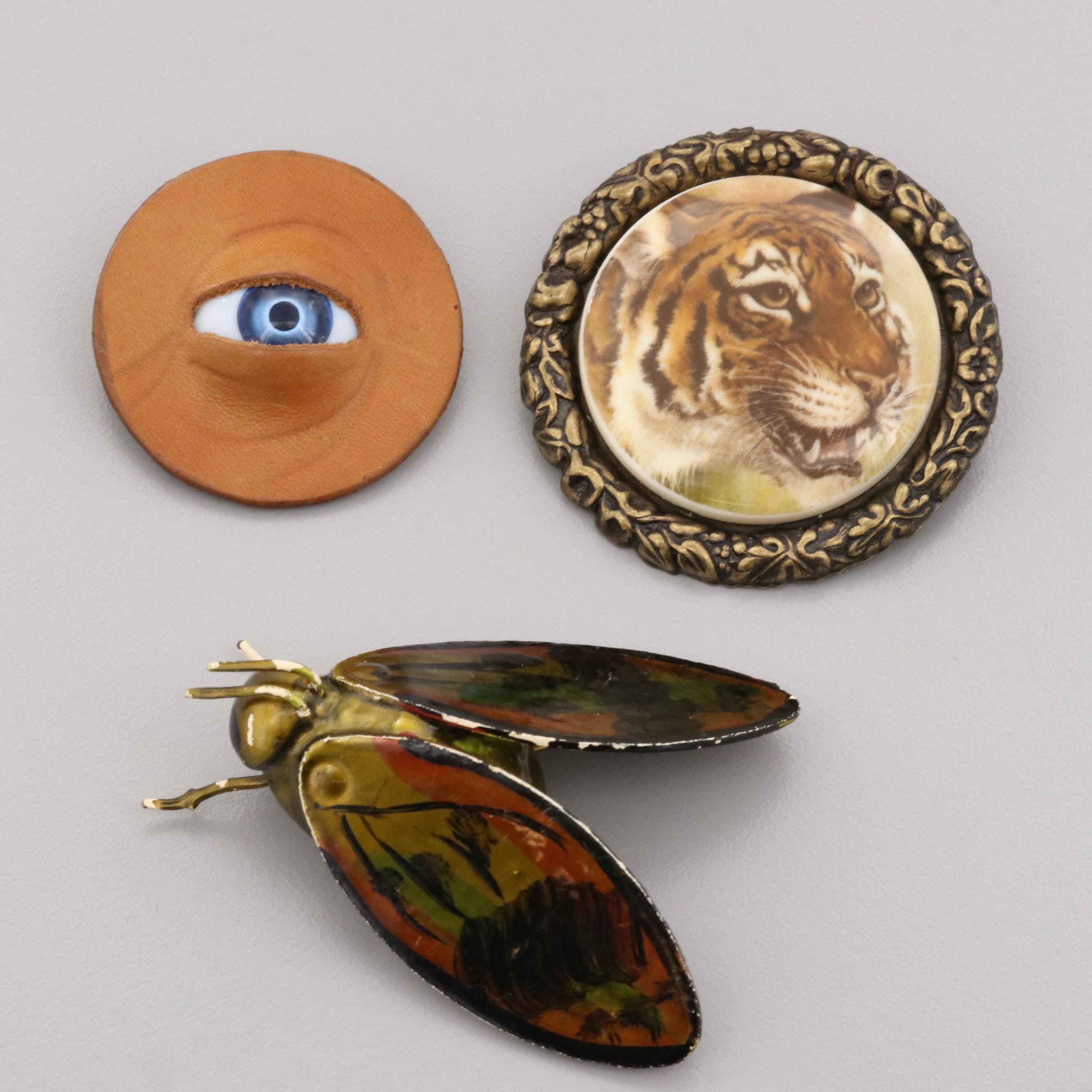 Gold Tone Leather, Glass, and Enamel Fashion Brooches