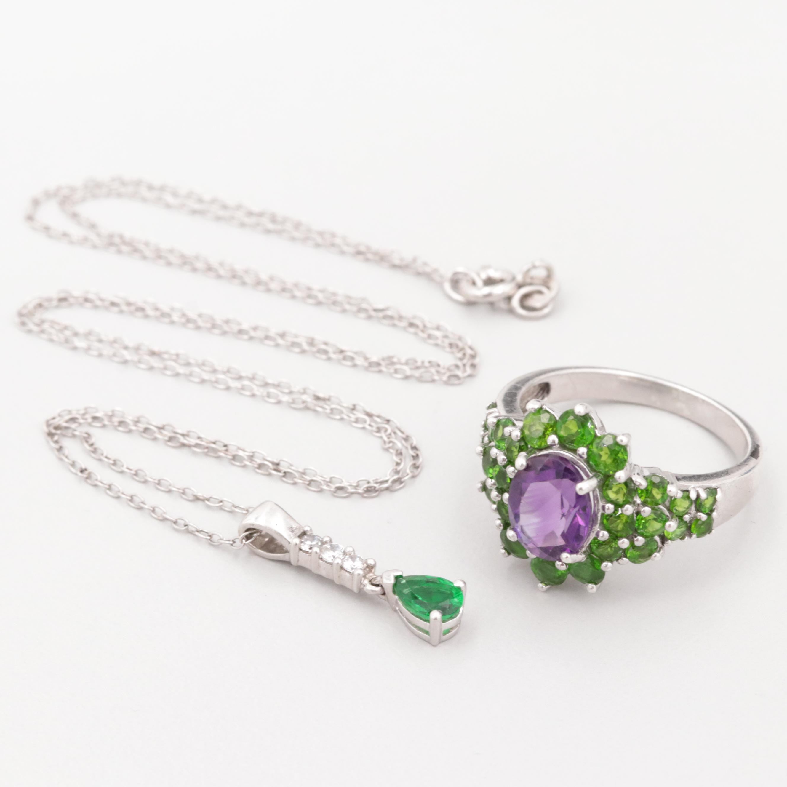 Sterling Silver Amethyst and Diopside Ring and Cubic Zirconia Necklace