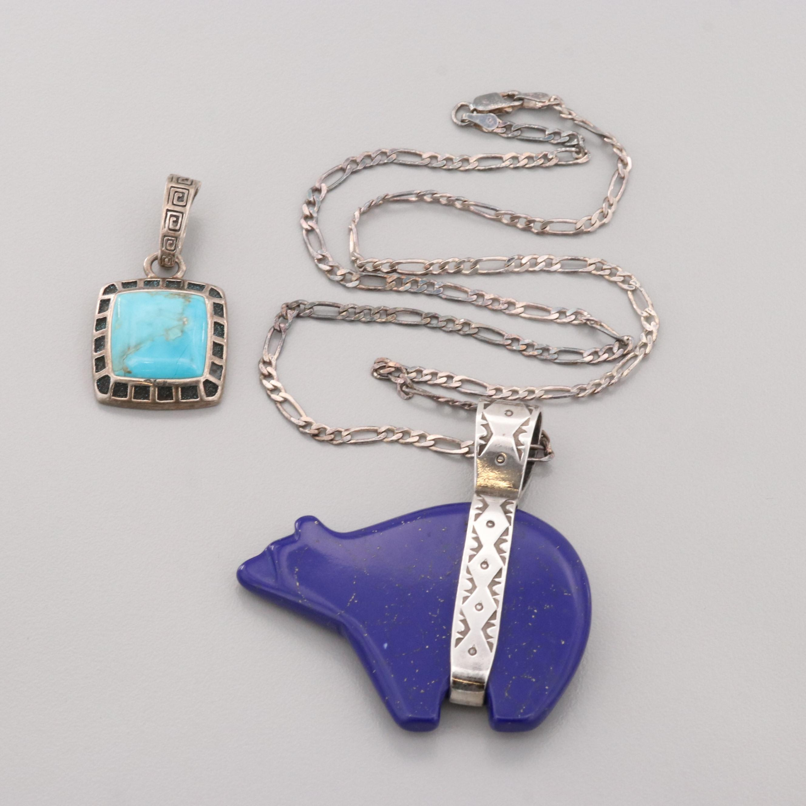 Pollack and Barse Sterling Imitation Lapis and Stabilized Turquoise Pendants