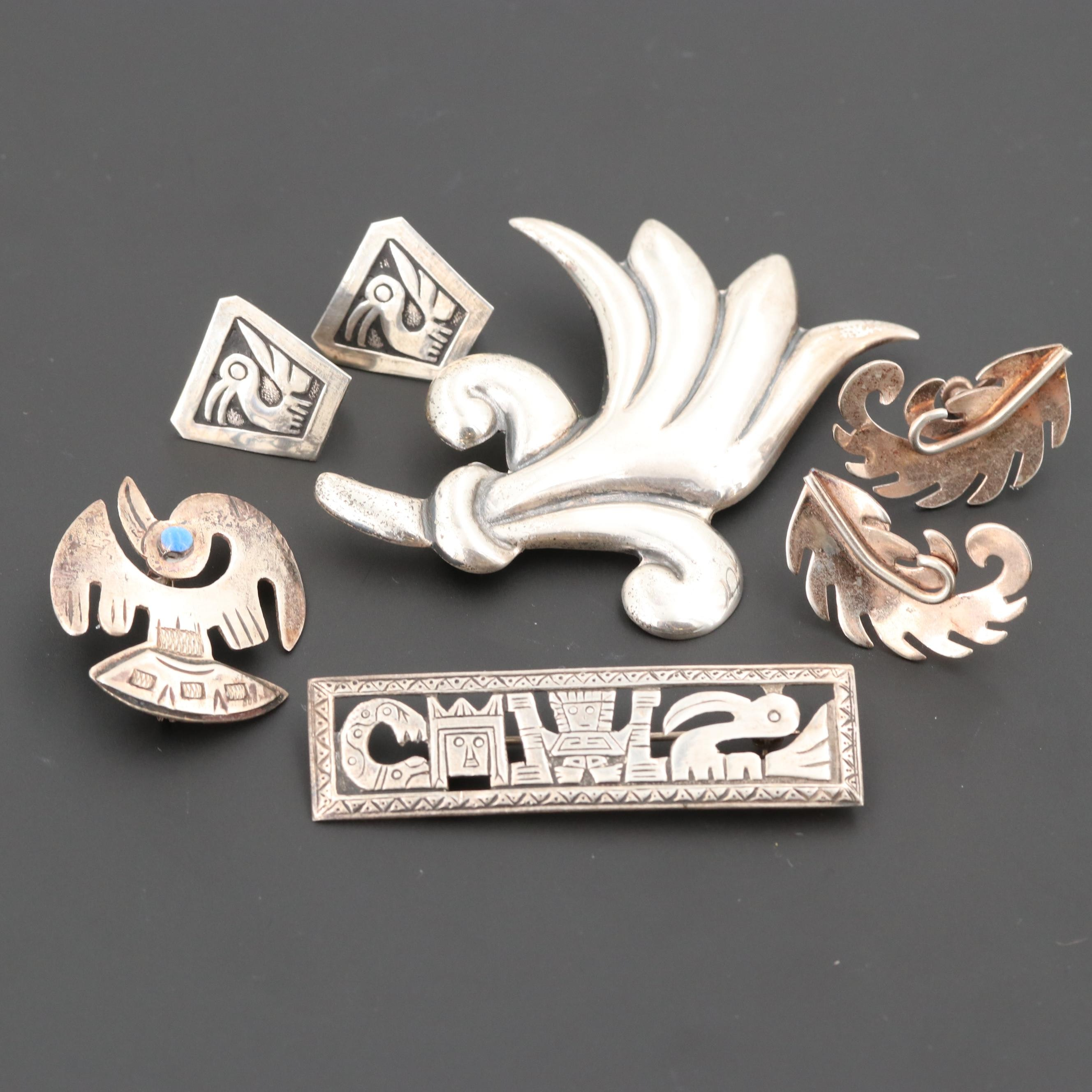 Assortment of Vintage Mexican Sterling Silver Jewelry