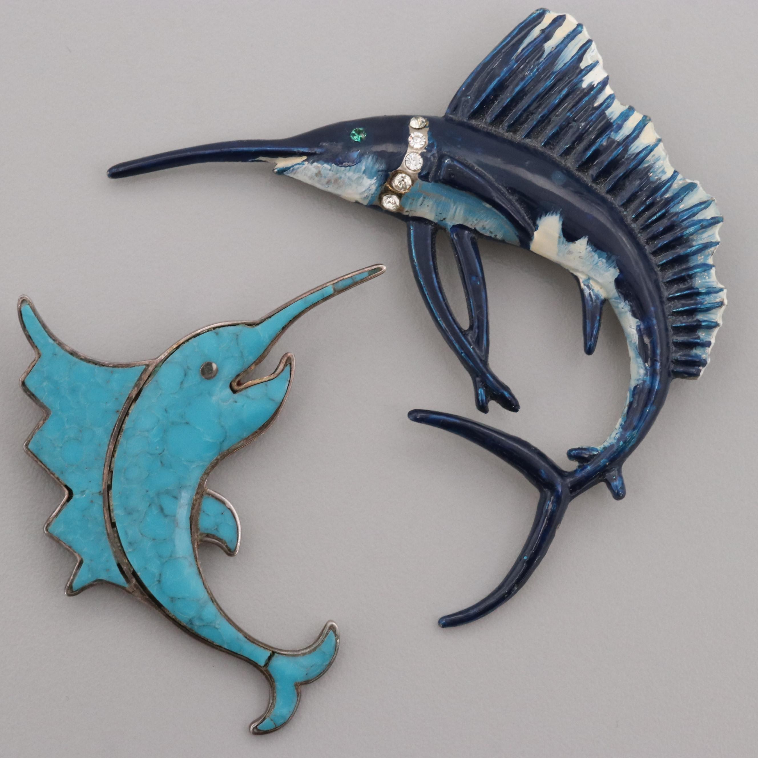 Sterling Silver and Silver Tone Enamel and Foilback Glass Swordfish Brooches