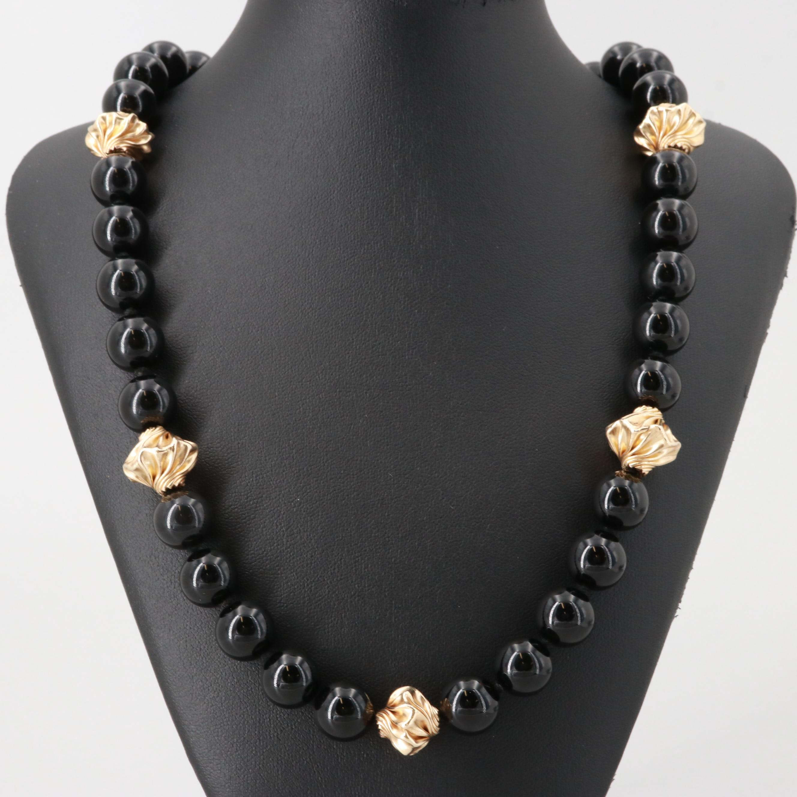 10K and 14K Yellow Gold Black Onyx Beaded Necklace