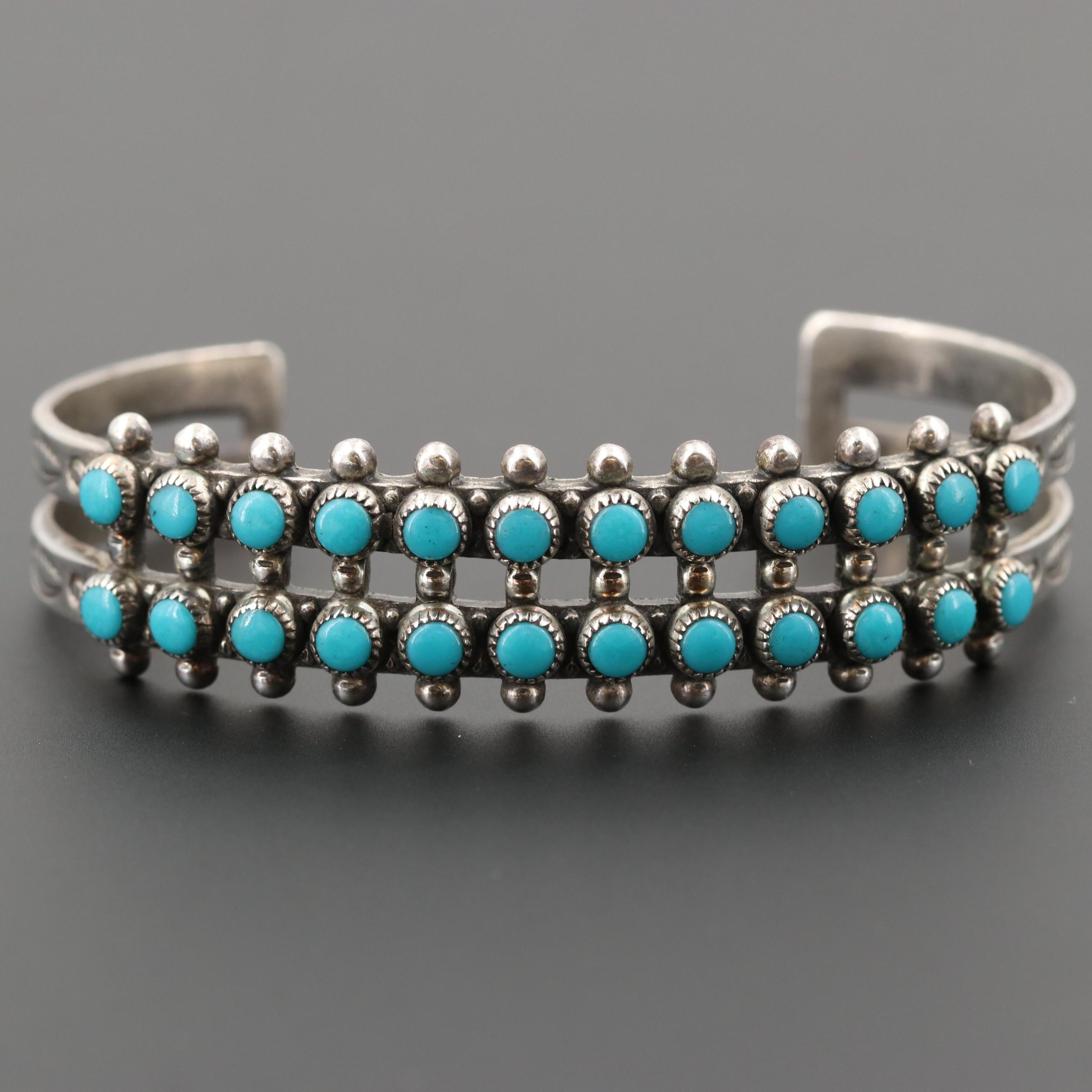 Bell Trading Post Sterling Silver Turquoise Cuff Bracelet